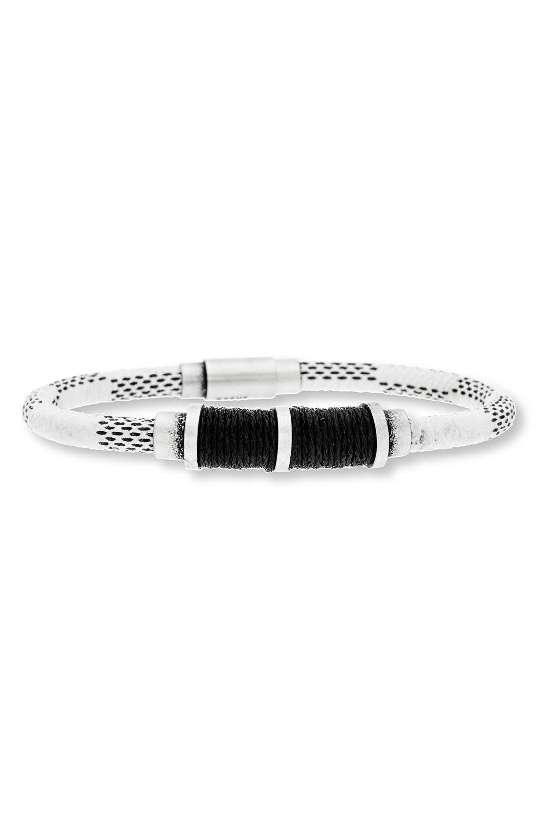 Stainless Steel & Leather Bracelet,                             Main thumbnail 1, color,                             100