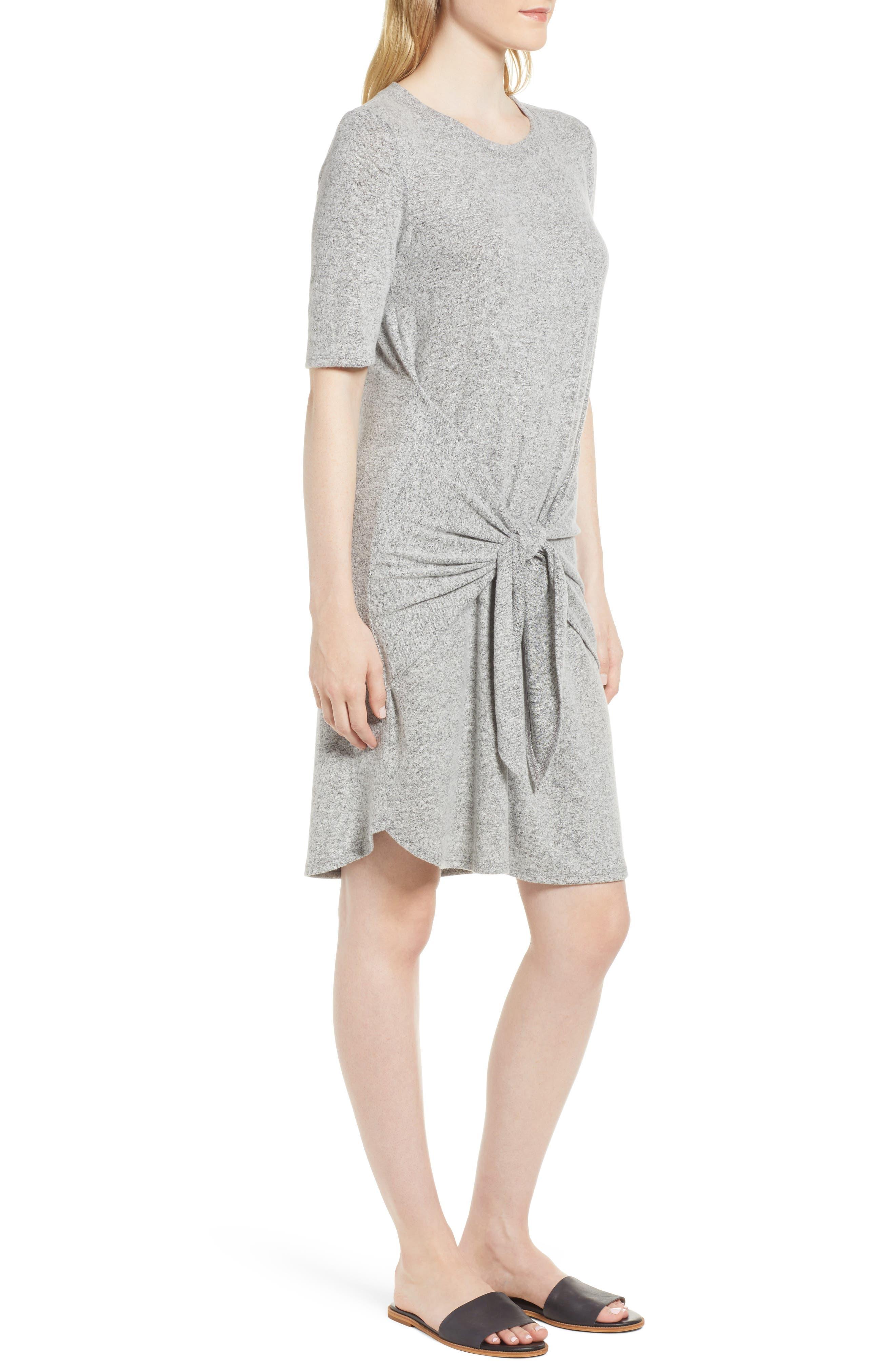 Caslon Off-Duty Tie Front Knit Dress,                             Alternate thumbnail 8, color,