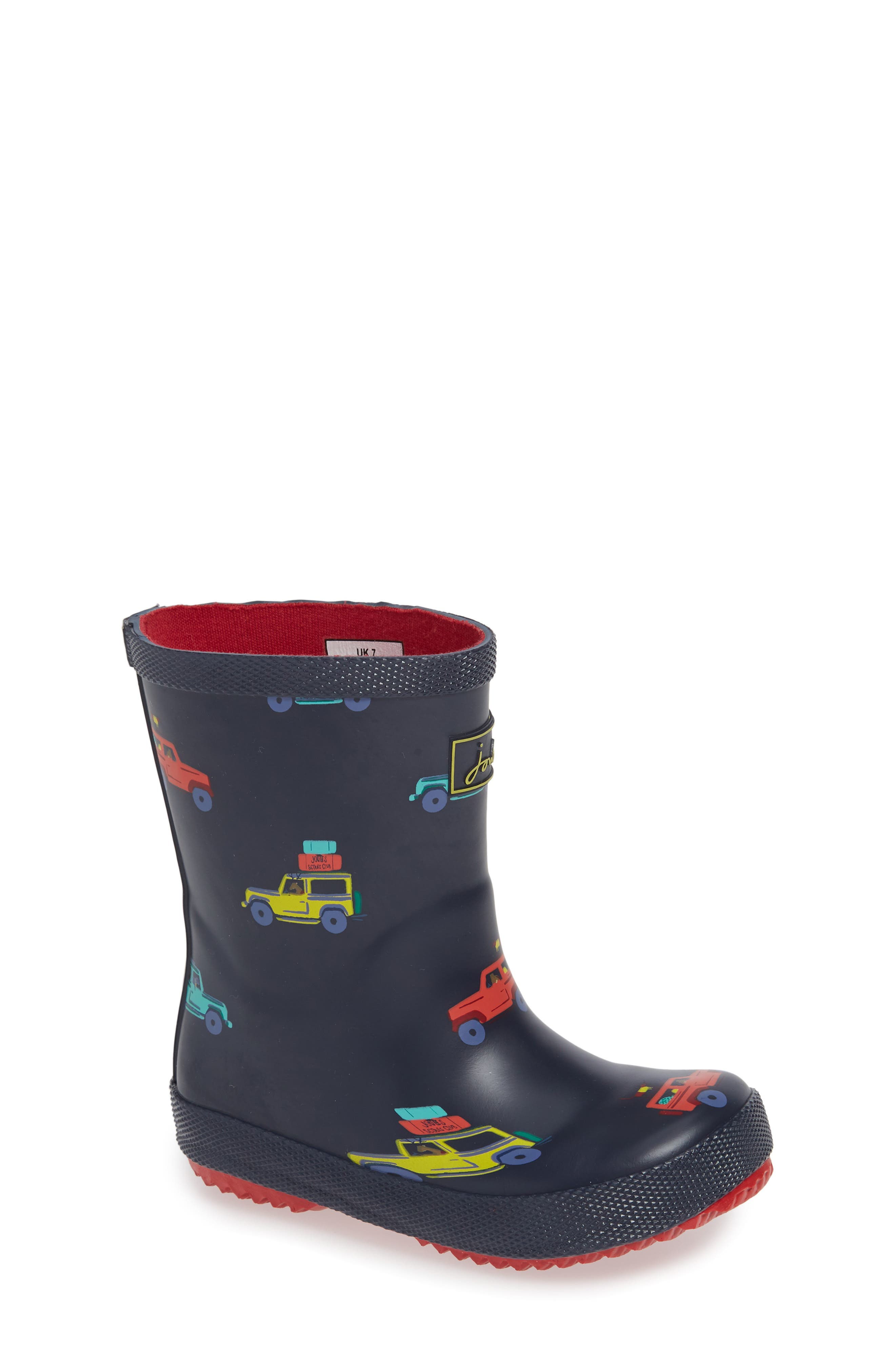 Print Welly Rain Boot,                             Main thumbnail 1, color,                             NAVY SCOUT AND ABOUT