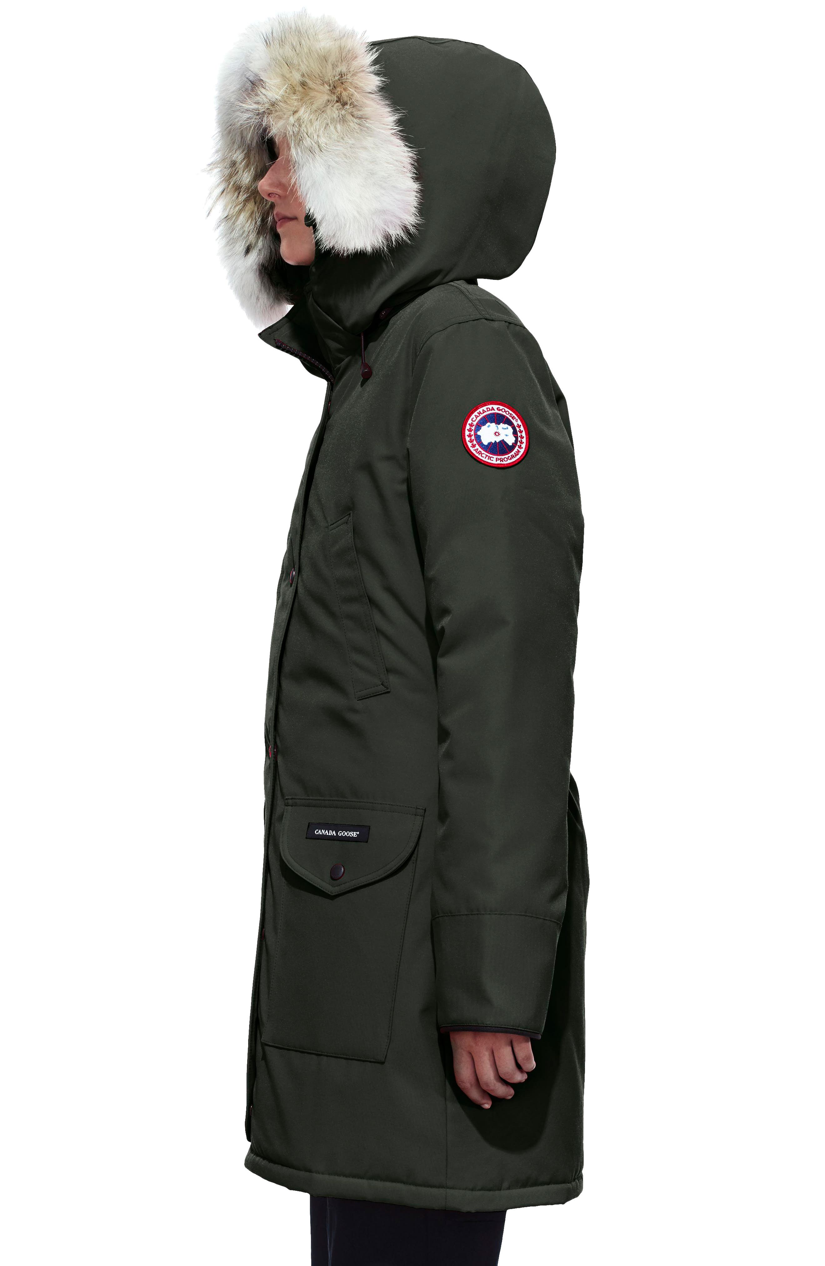 Trillium Fusion Fit Hooded Parka with Genuine Coyote Fur Trim,                             Alternate thumbnail 3, color,                             VOLCANO