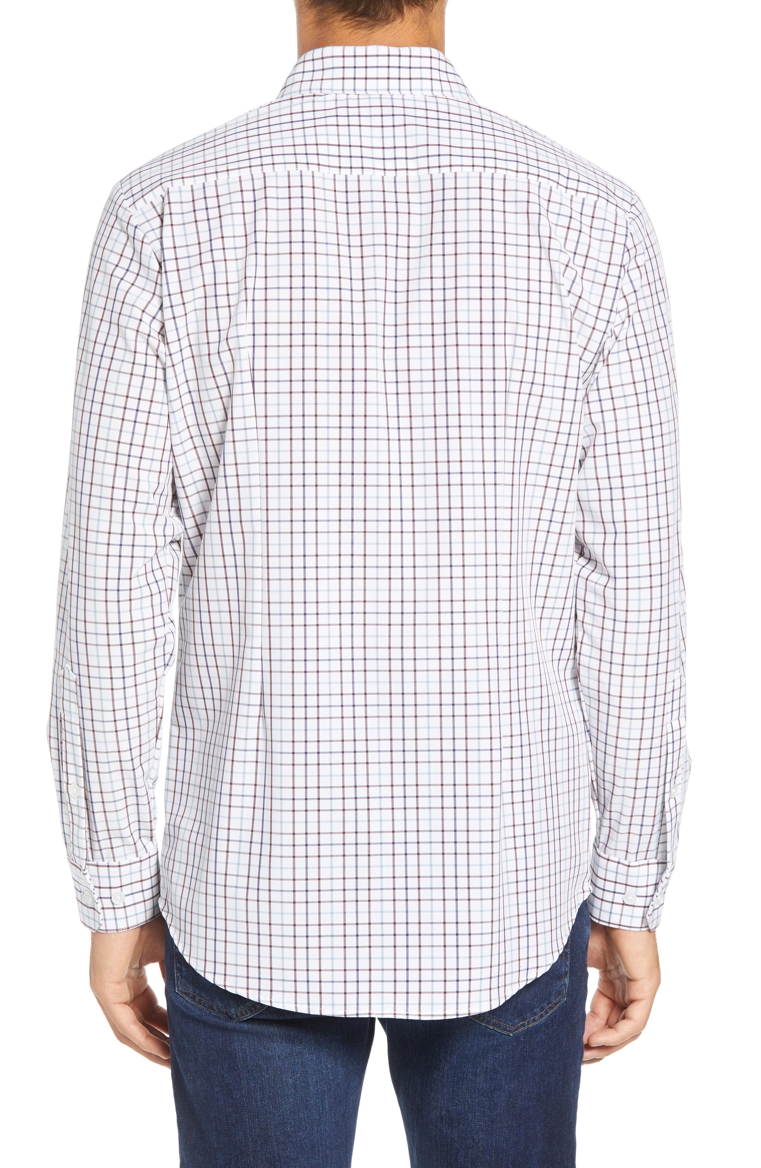 Ward Regular Fit Multi Check Performance Sport Shirt,                             Alternate thumbnail 3, color,                             WHITE