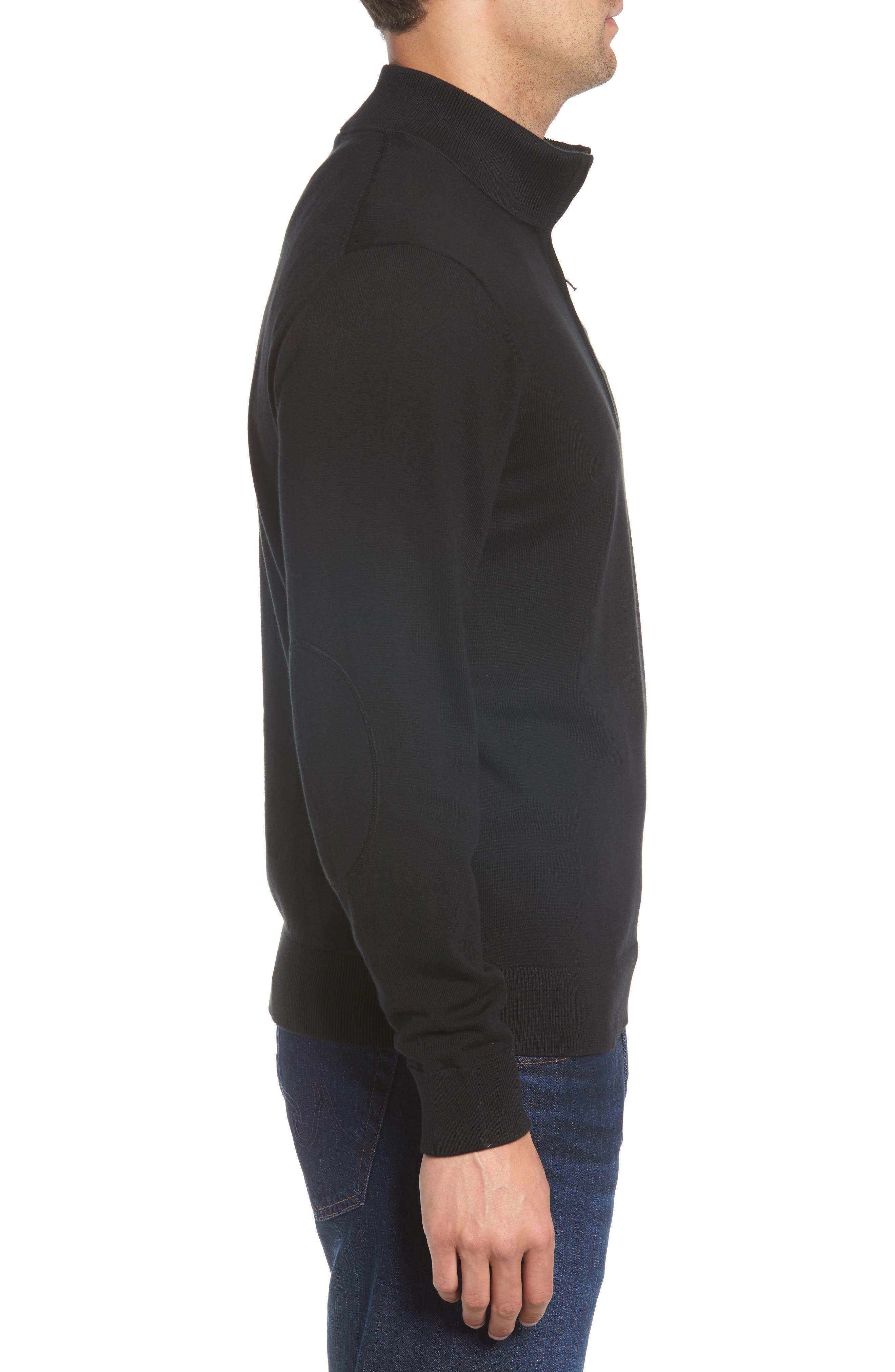 New York Jets - Lakemont Regular Fit Quarter Zip Sweater,                             Alternate thumbnail 3, color,                             BLACK