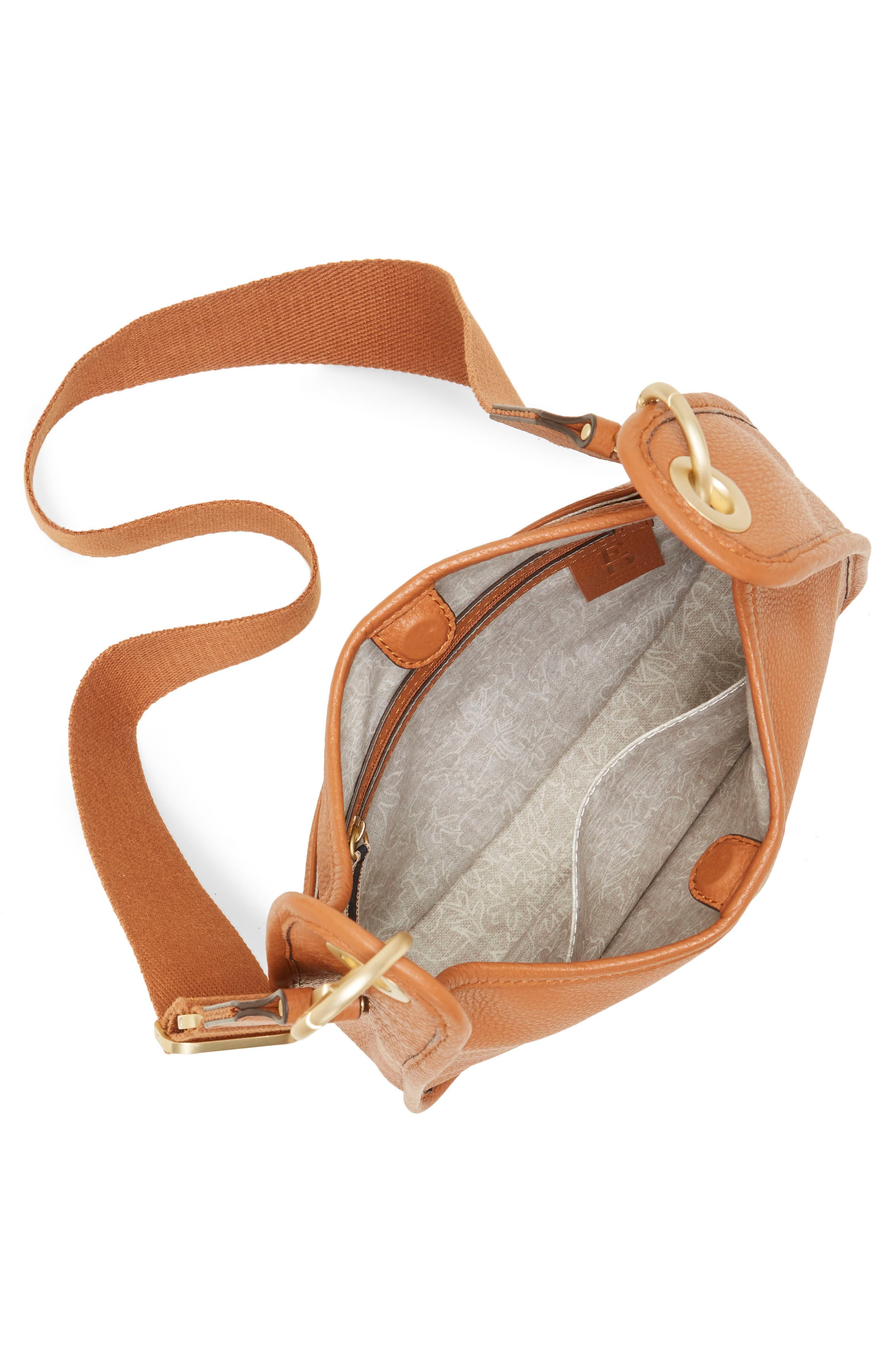 Leather Crossbody Bag,                             Alternate thumbnail 3, color,                             201