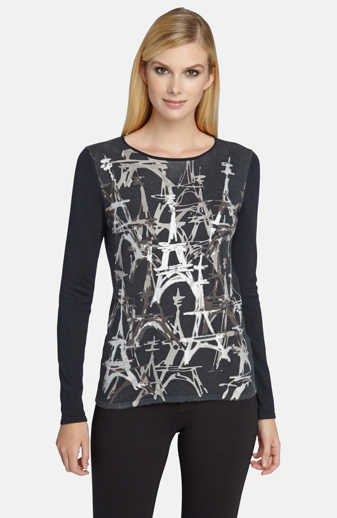 Foiled Eiffel Tower Sweater,                             Main thumbnail 1, color,                             001