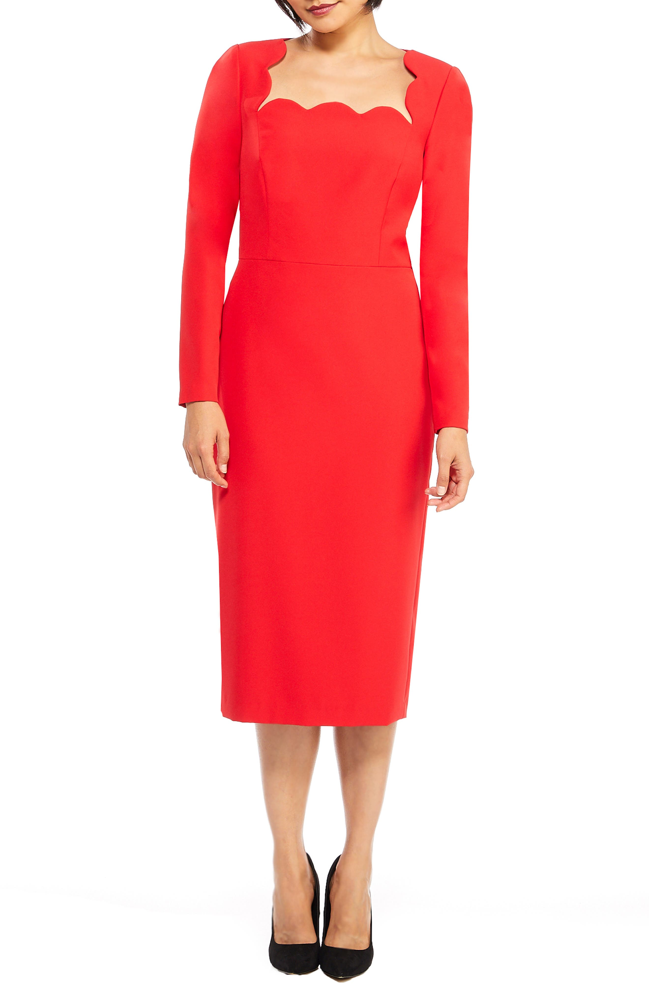 Vintage Christmas Dress | Party Dresses | Night Out Outfits Womens Maggy London Square Neck Dream Crepe Midi Dress Size 2 - Red $138.00 AT vintagedancer.com