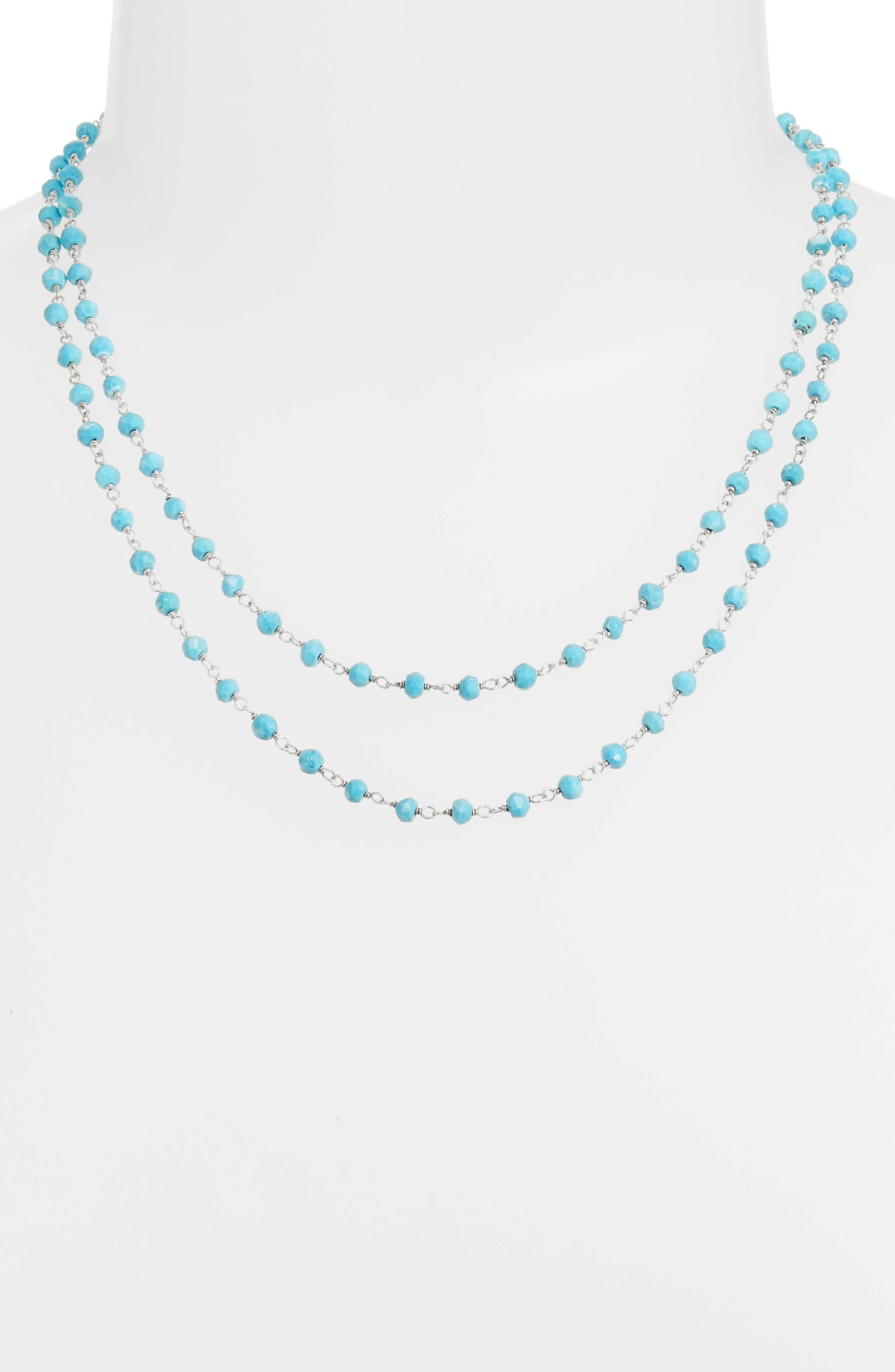 Beaded Wrap Necklace,                             Alternate thumbnail 2, color,                             SILVER/ TURQUOISE