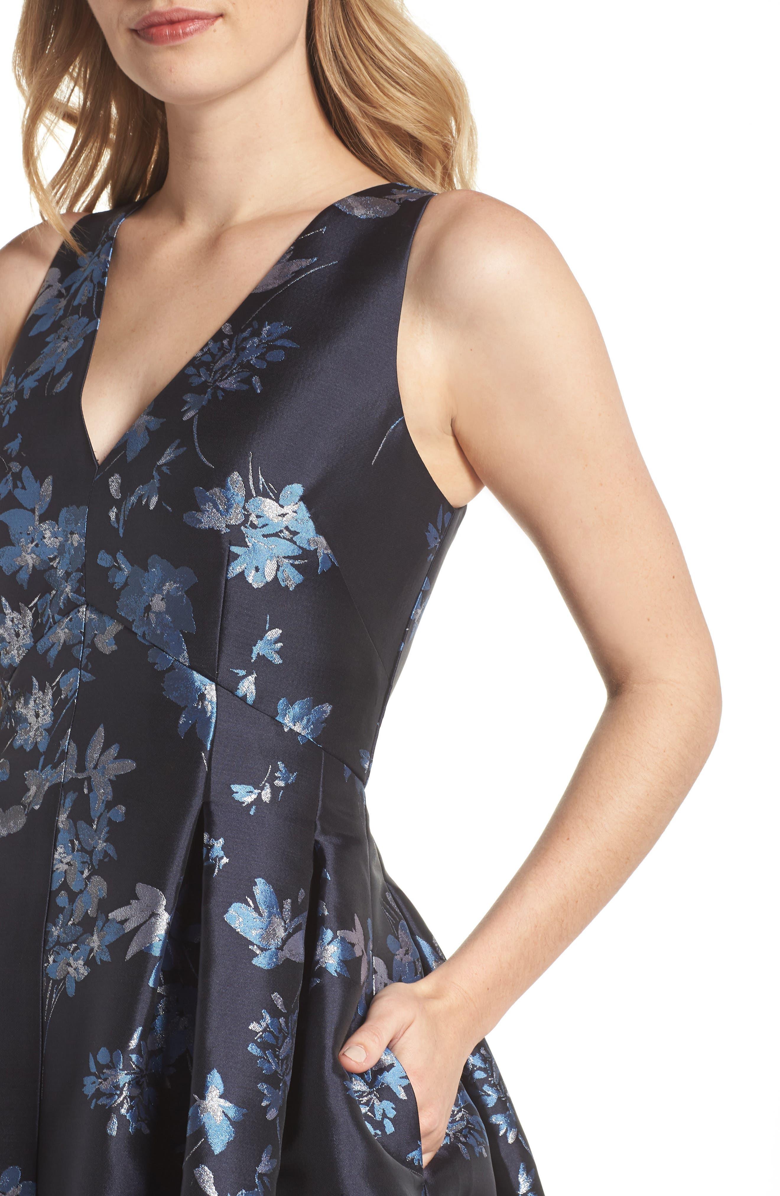 ELIZA J,                             V-Neck Fit & Flare Cocktail Dress,                             Alternate thumbnail 4, color,                             410