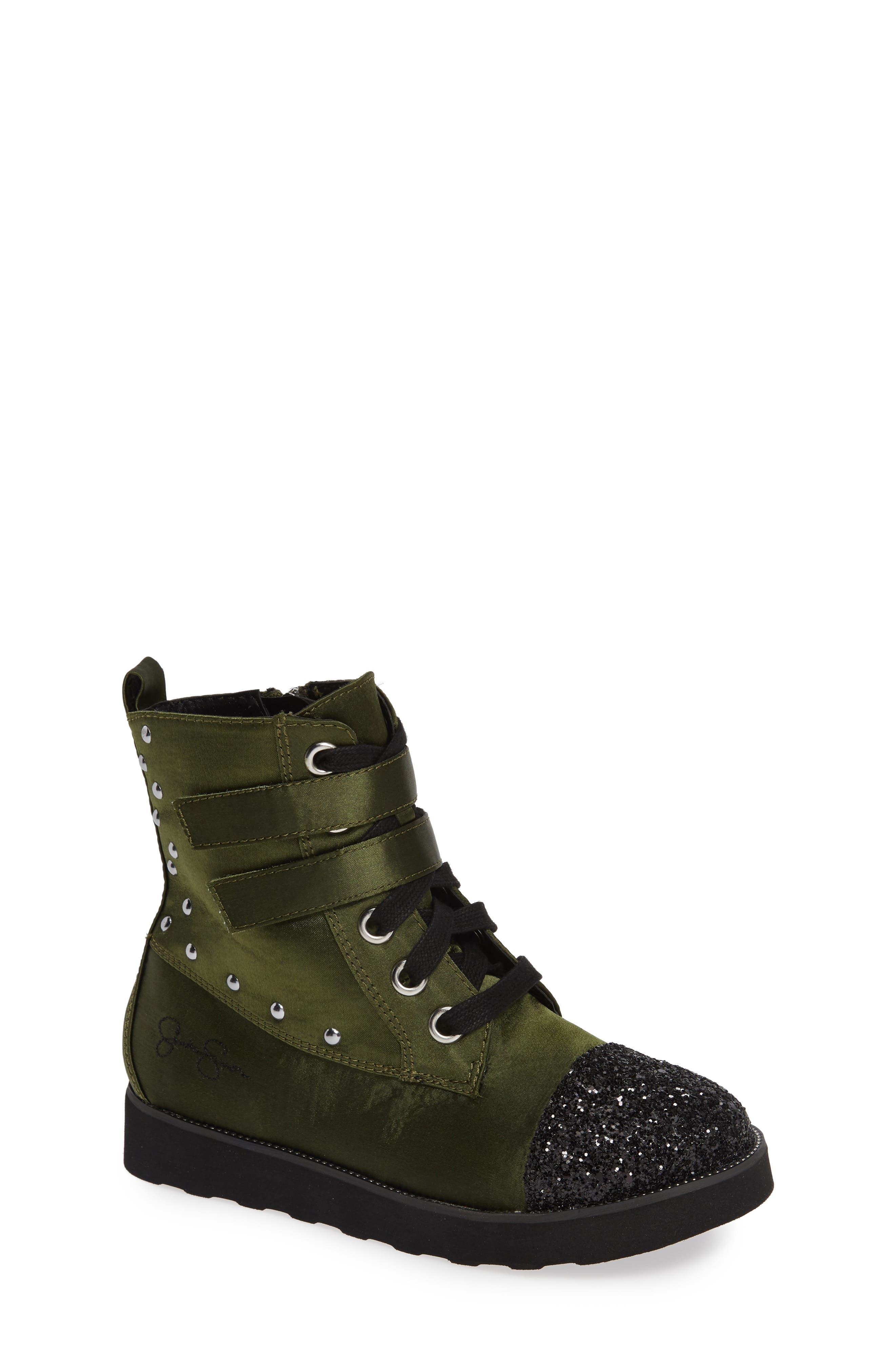 Glitter Combat Boot,                         Main,                         color, OLIVE SATIN