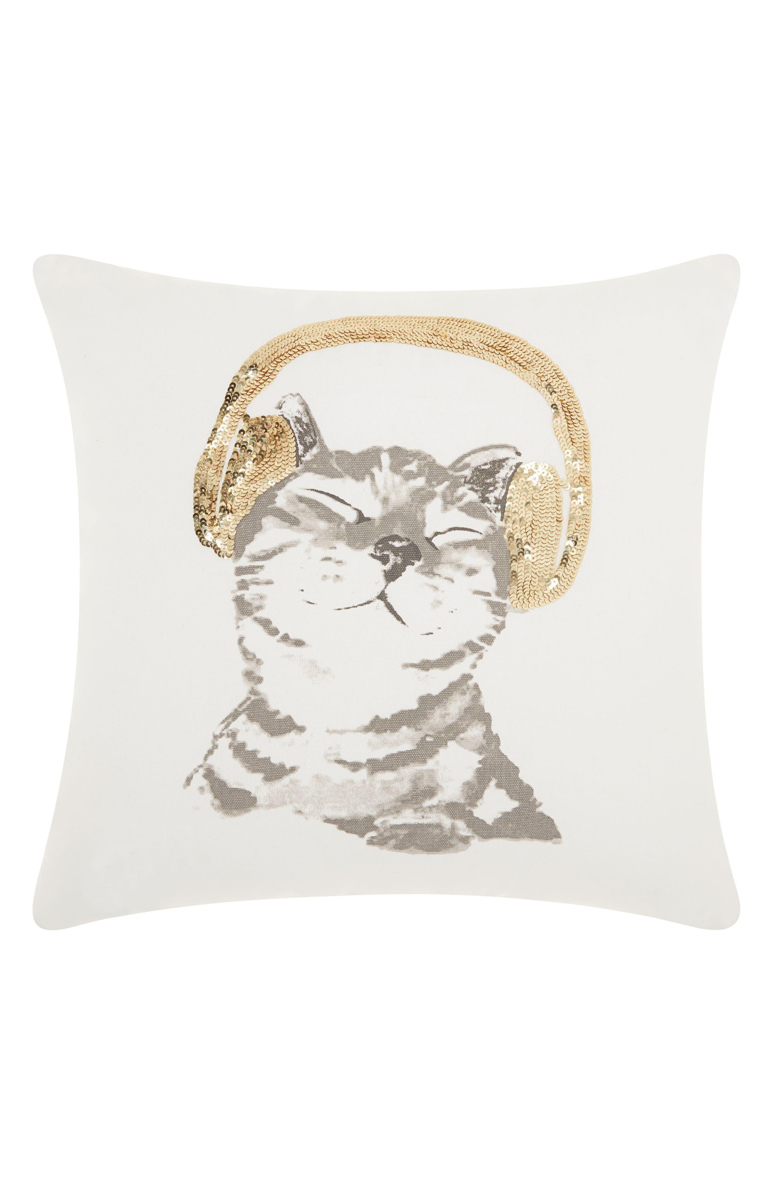 Sequin DJ Kitten Accent Pillow,                             Main thumbnail 1, color,                             WHITE