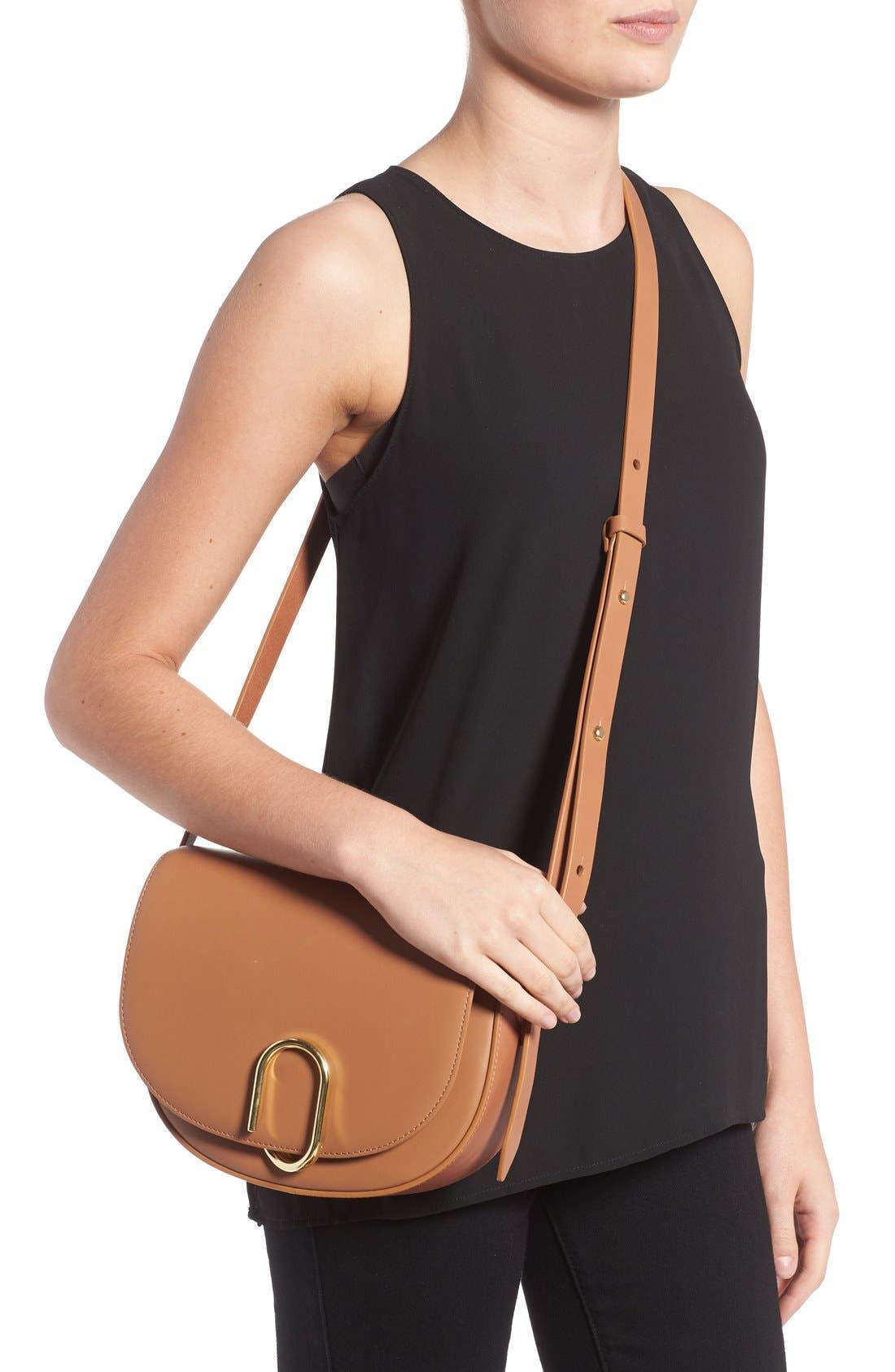 Alix Leather Saddle Bag,                             Alternate thumbnail 8, color,
