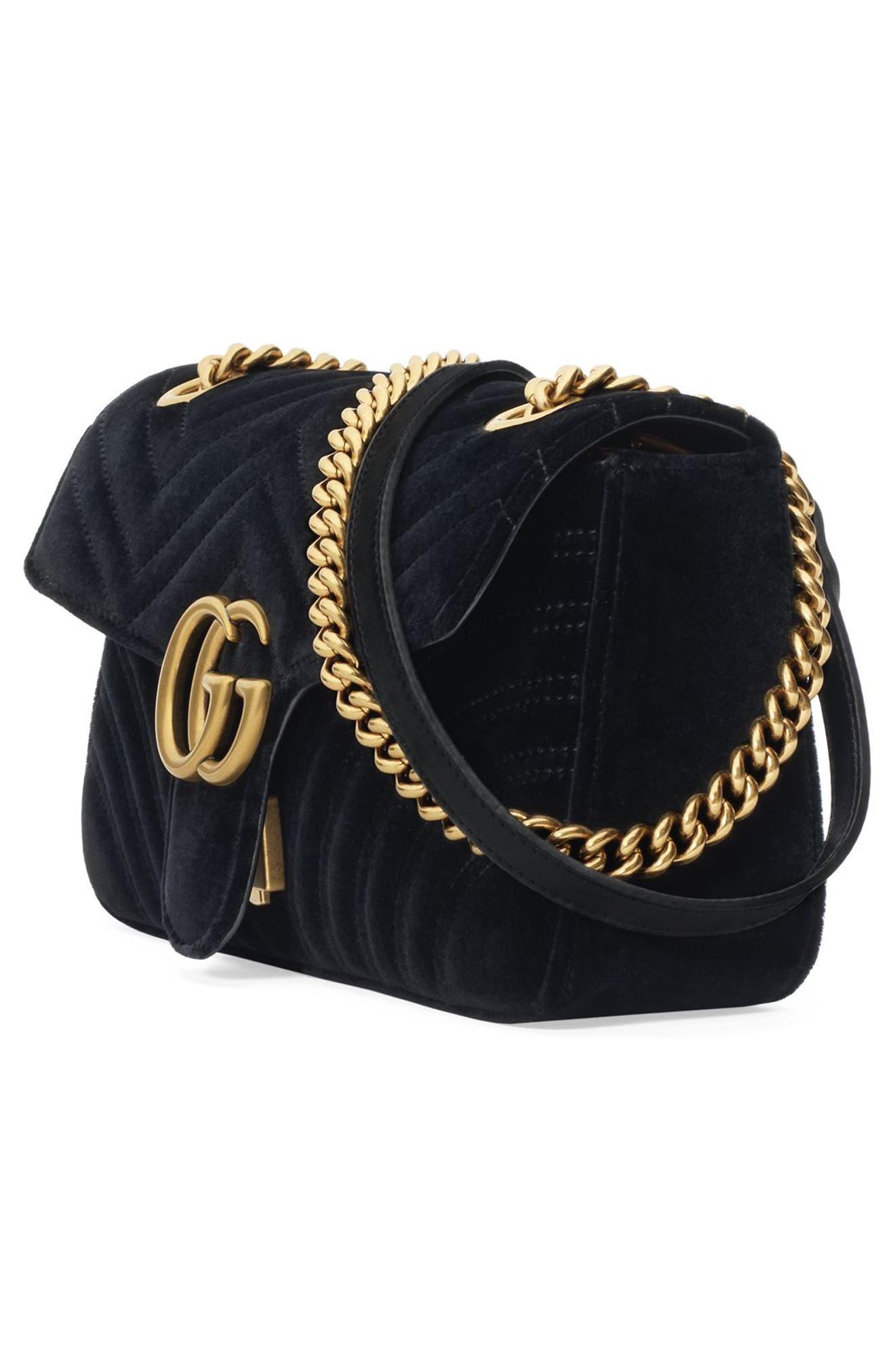 Medium GG Marmont 2.0 Matelassé Velvet Shoulder Bag,                             Alternate thumbnail 4, color,                             NERO