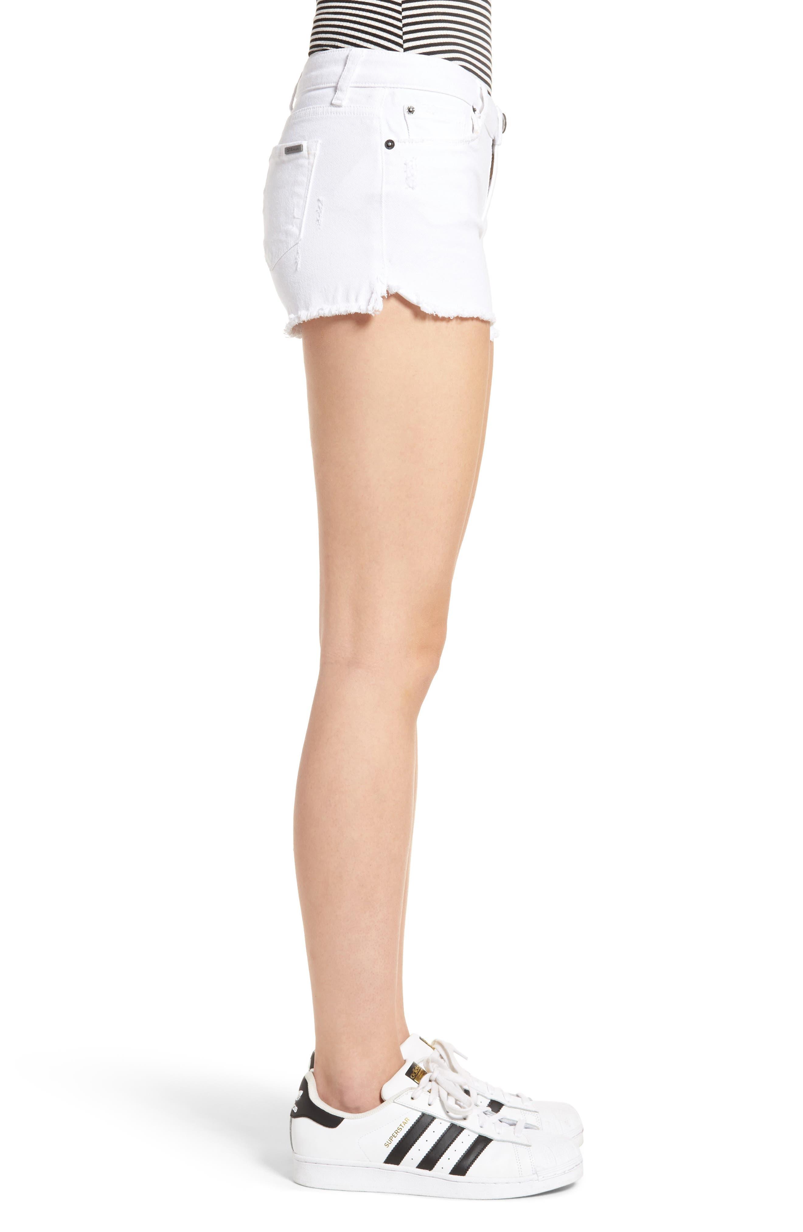 Raw Hem Denim Shorts,                             Alternate thumbnail 3, color,                             WHITE