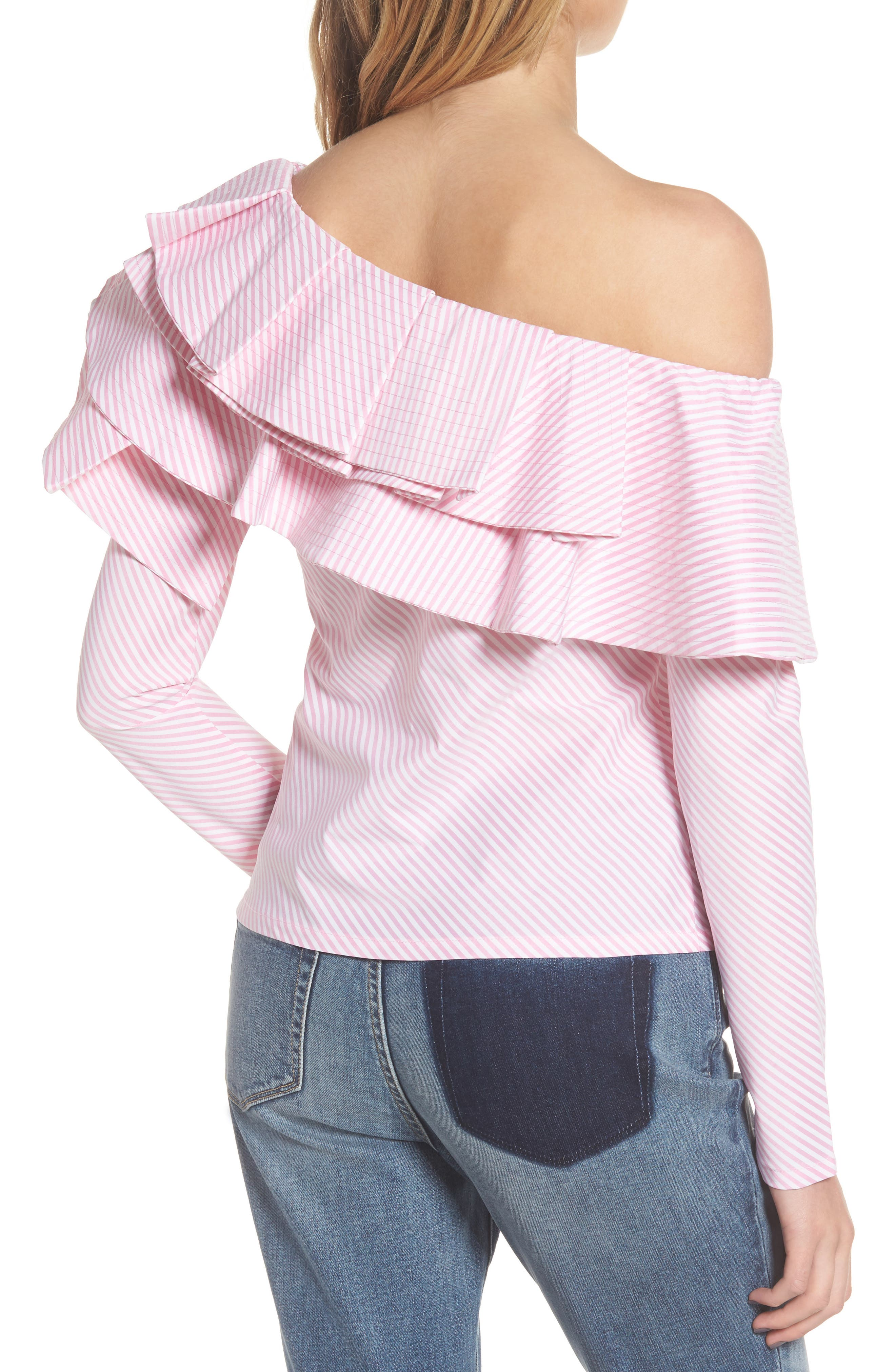 Think Fashion One-Shoulder Top,                             Alternate thumbnail 2, color,