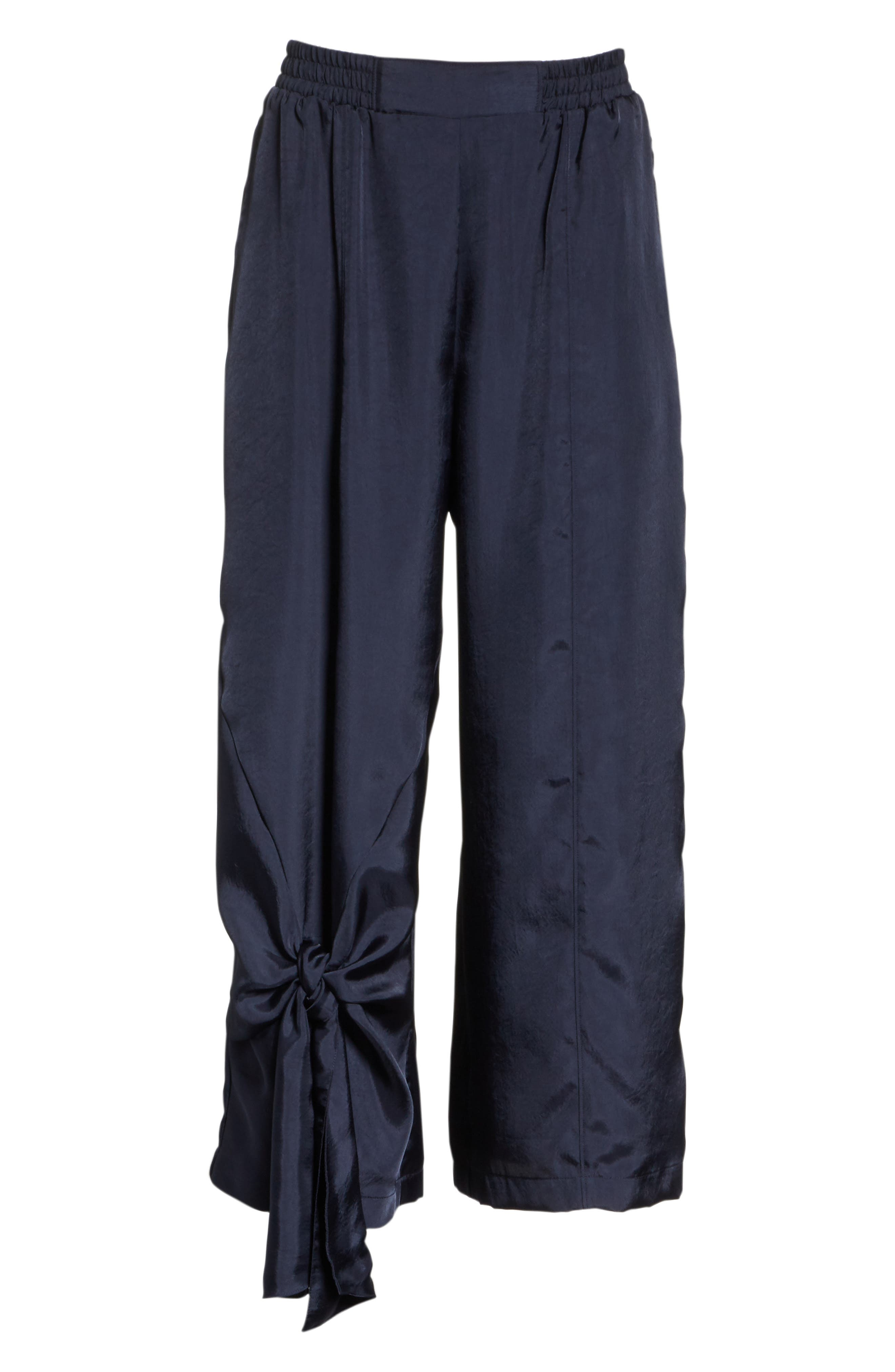 Tie Detail Crop Pants,                             Alternate thumbnail 6, color,                             NAVY