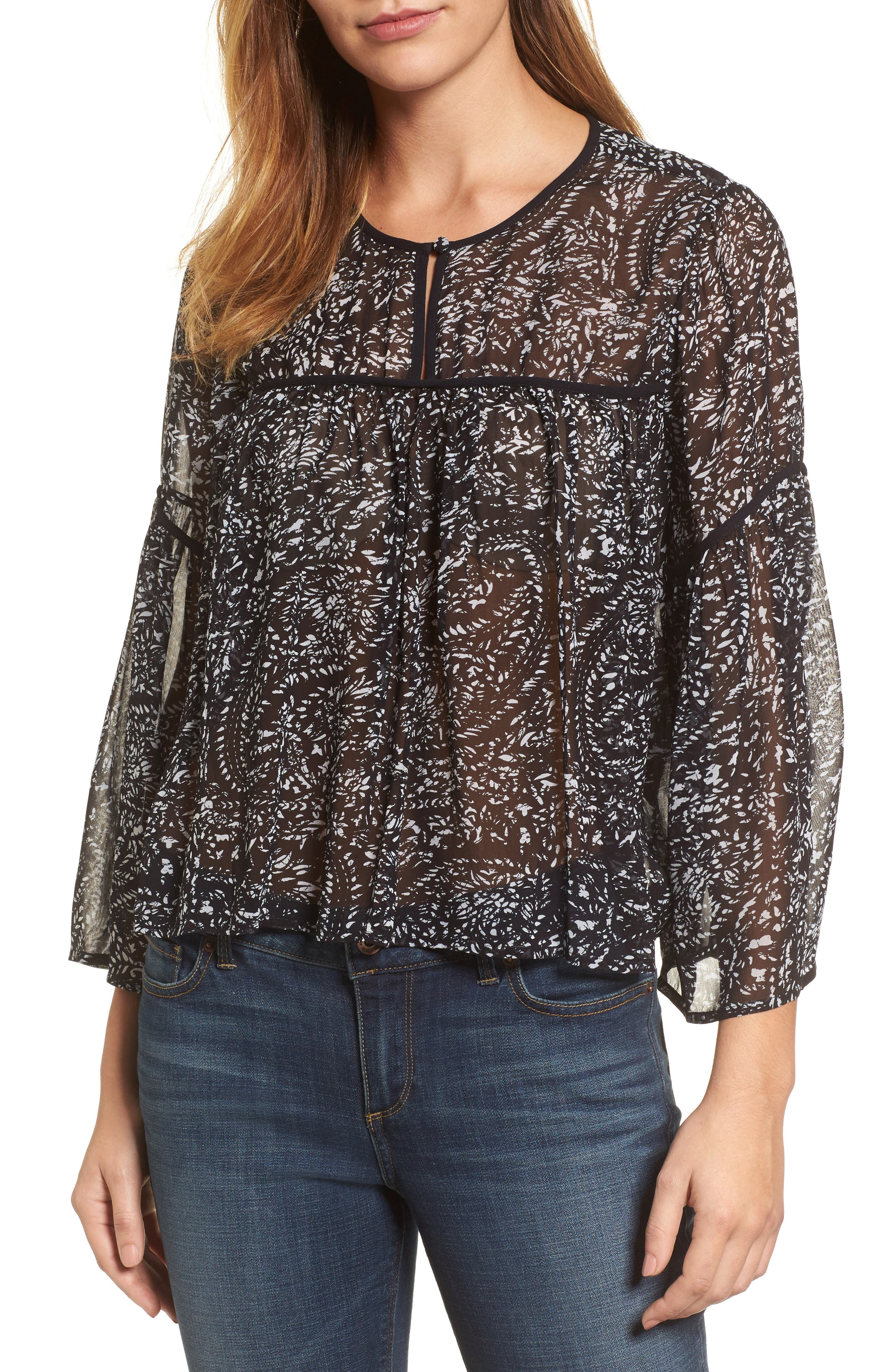 Paisley Print Bell Sleeve Top,                         Main,                         color, 010