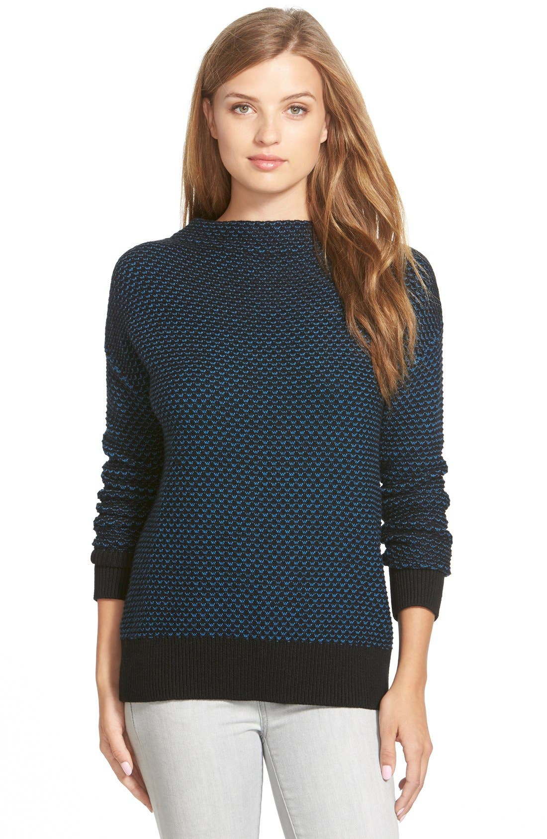 Funnel Neck Sweater,                             Main thumbnail 1, color,                             001