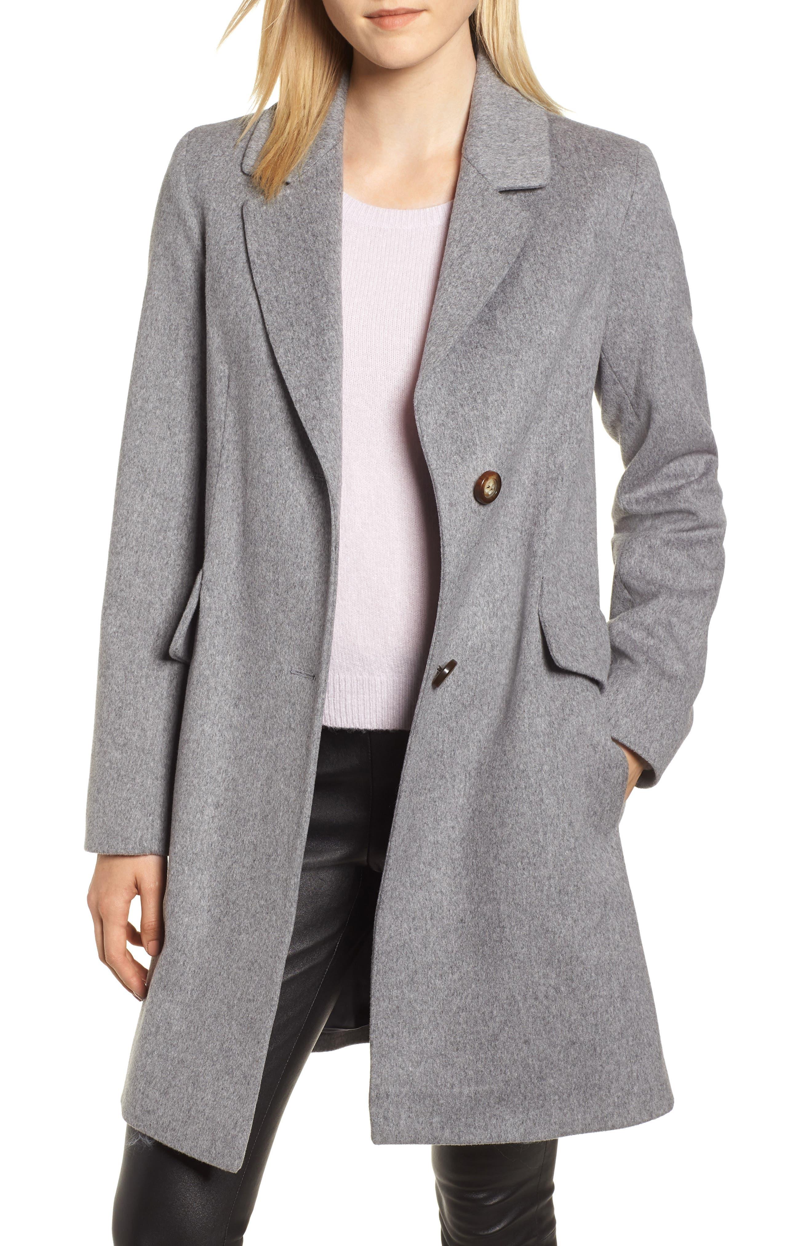 Notch Collar Wool Coat,                         Main,                         color, GREY HEATHER