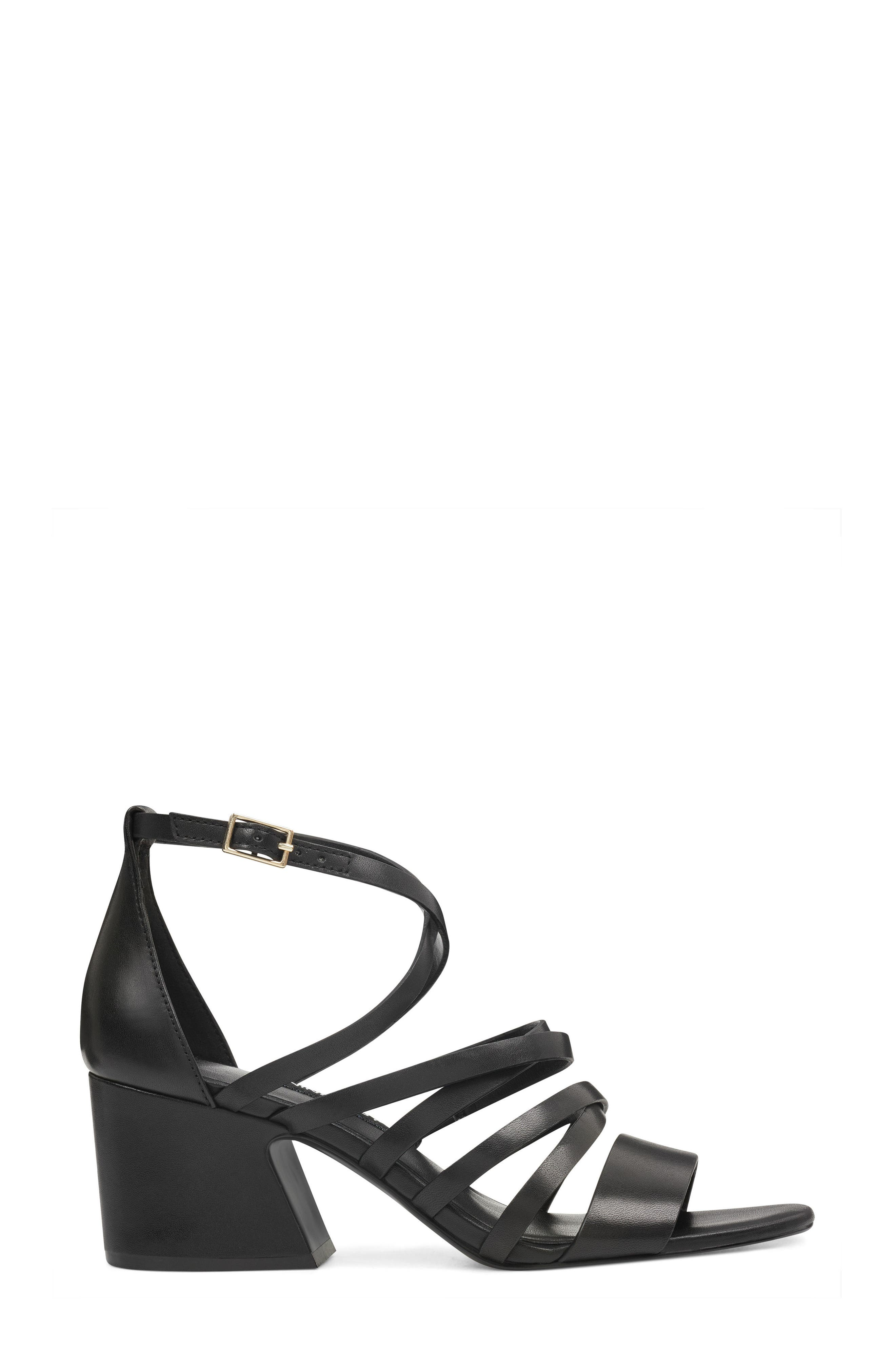Youlo Strappy Cage Sandal,                             Alternate thumbnail 3, color,                             BLACK LEATHER
