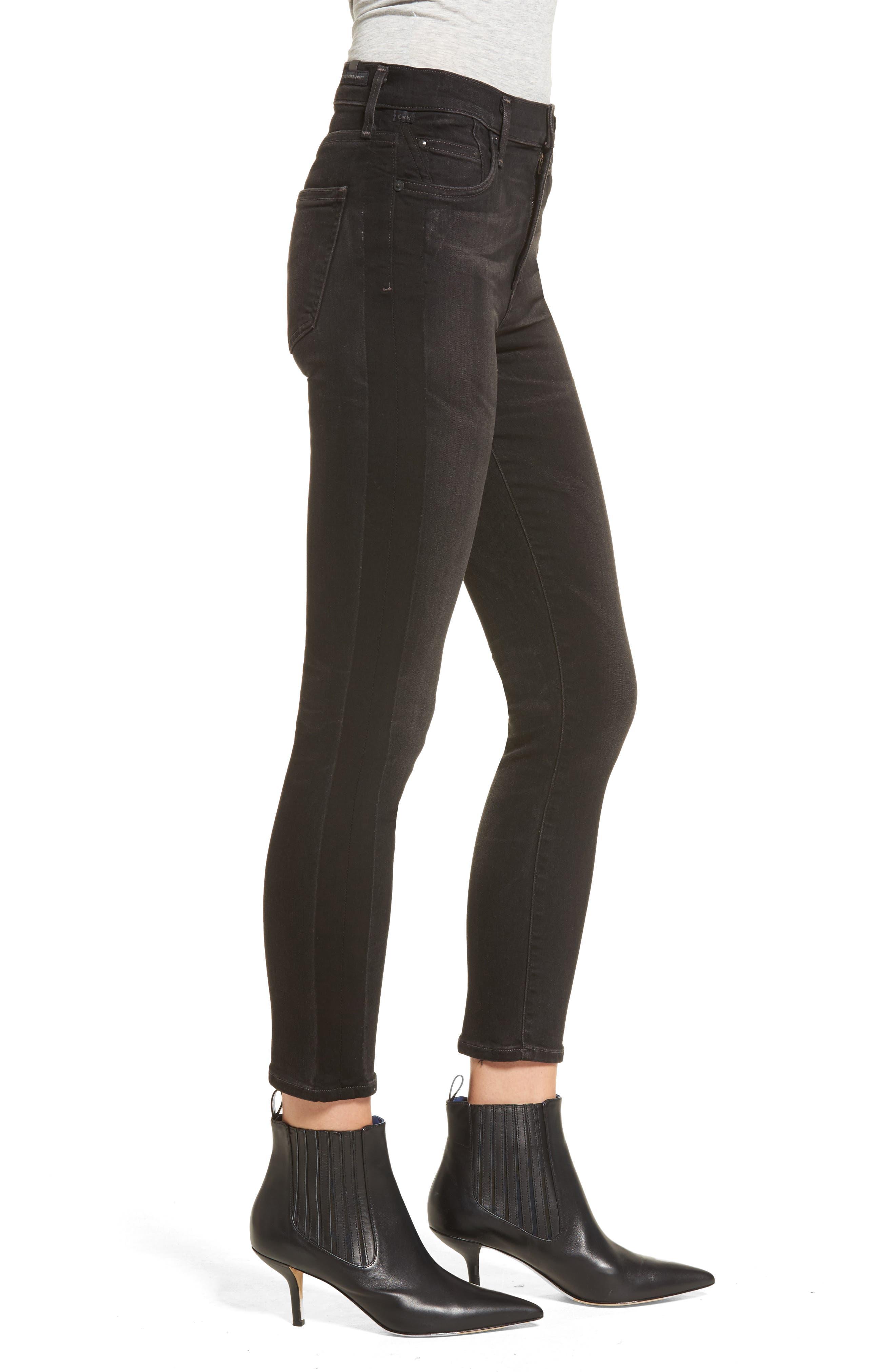 Rocket High Waist Crop Skinny Jeans,                             Alternate thumbnail 3, color,                             009