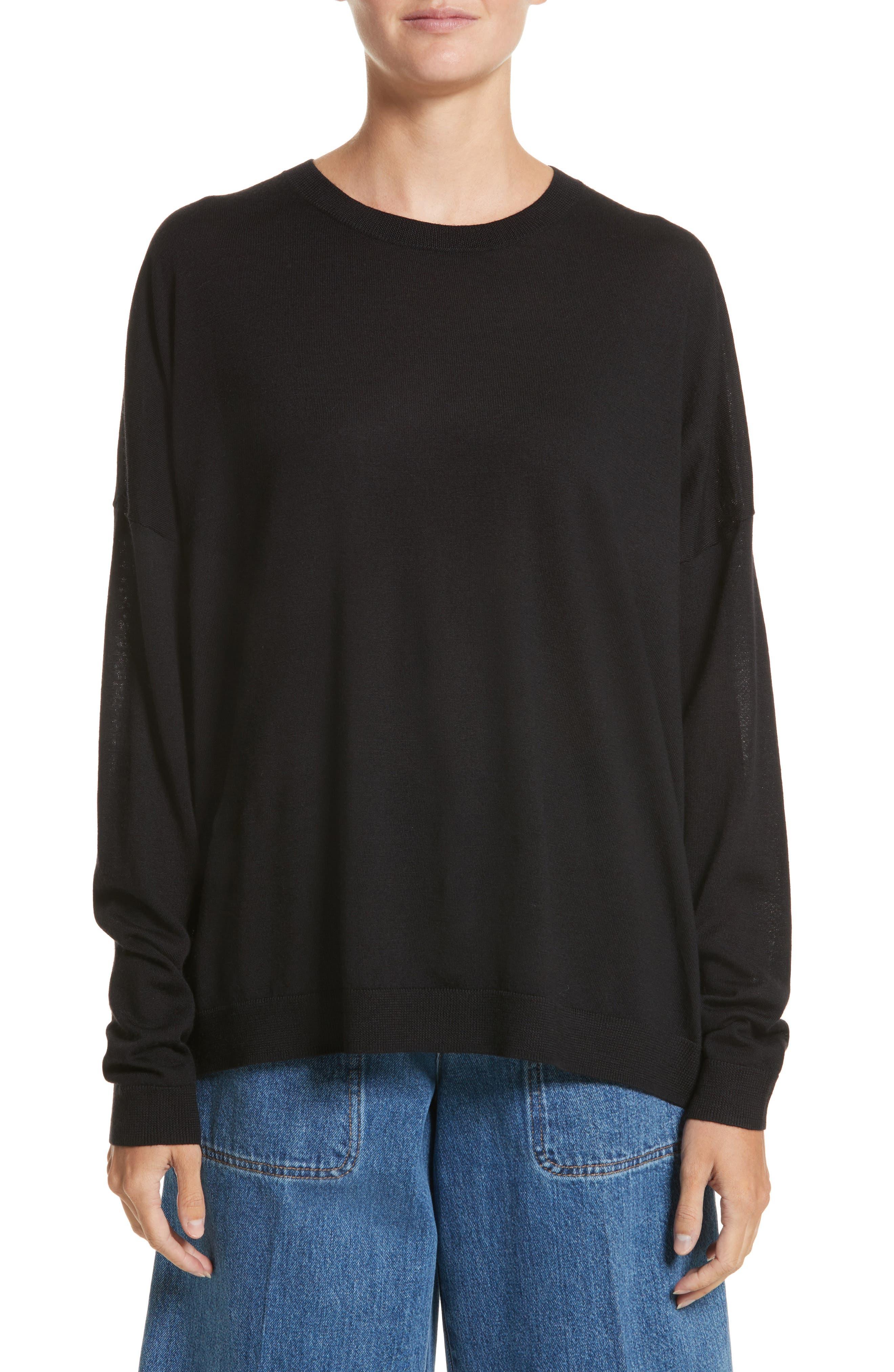 Karel Oversize Merino Sweater,                             Main thumbnail 1, color,                             001