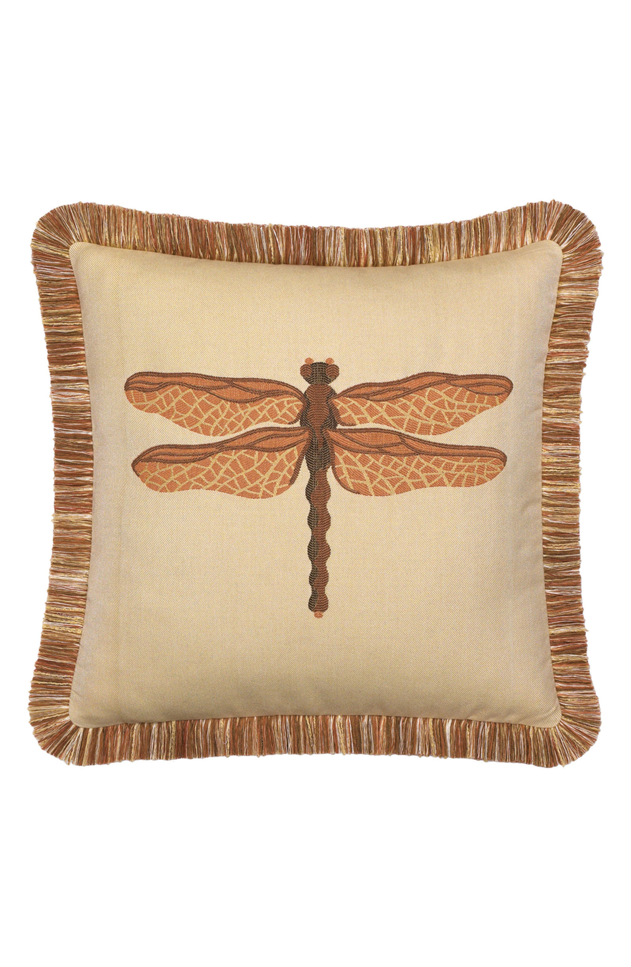 Dragonfly Indoor/Outdoor Accent Pillow,                         Main,                         color, BROWN