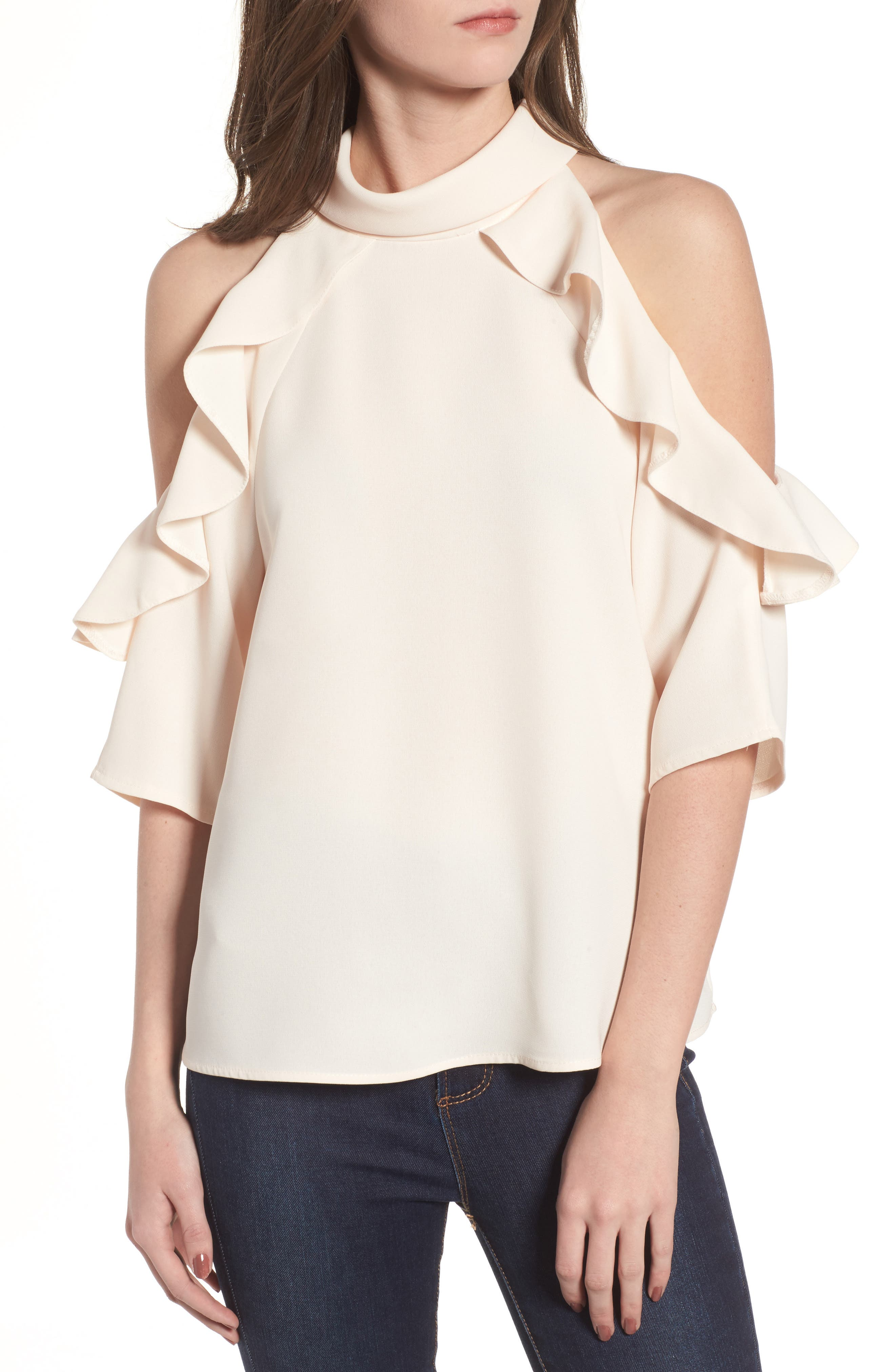 Ruffle Cold Shoulder Top,                             Main thumbnail 3, color,