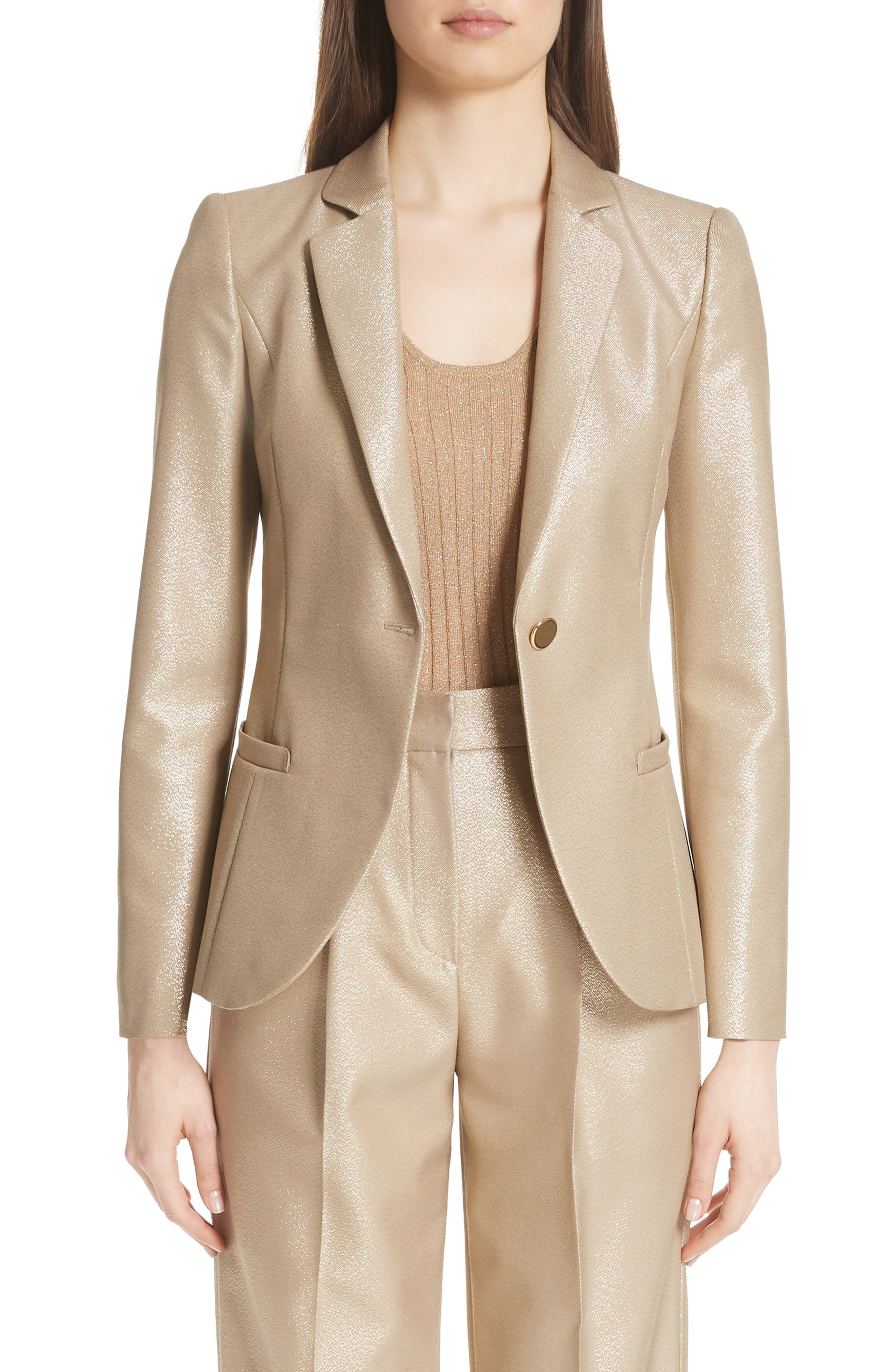 One-Button Metallic Wool Classic Jacket in Gold