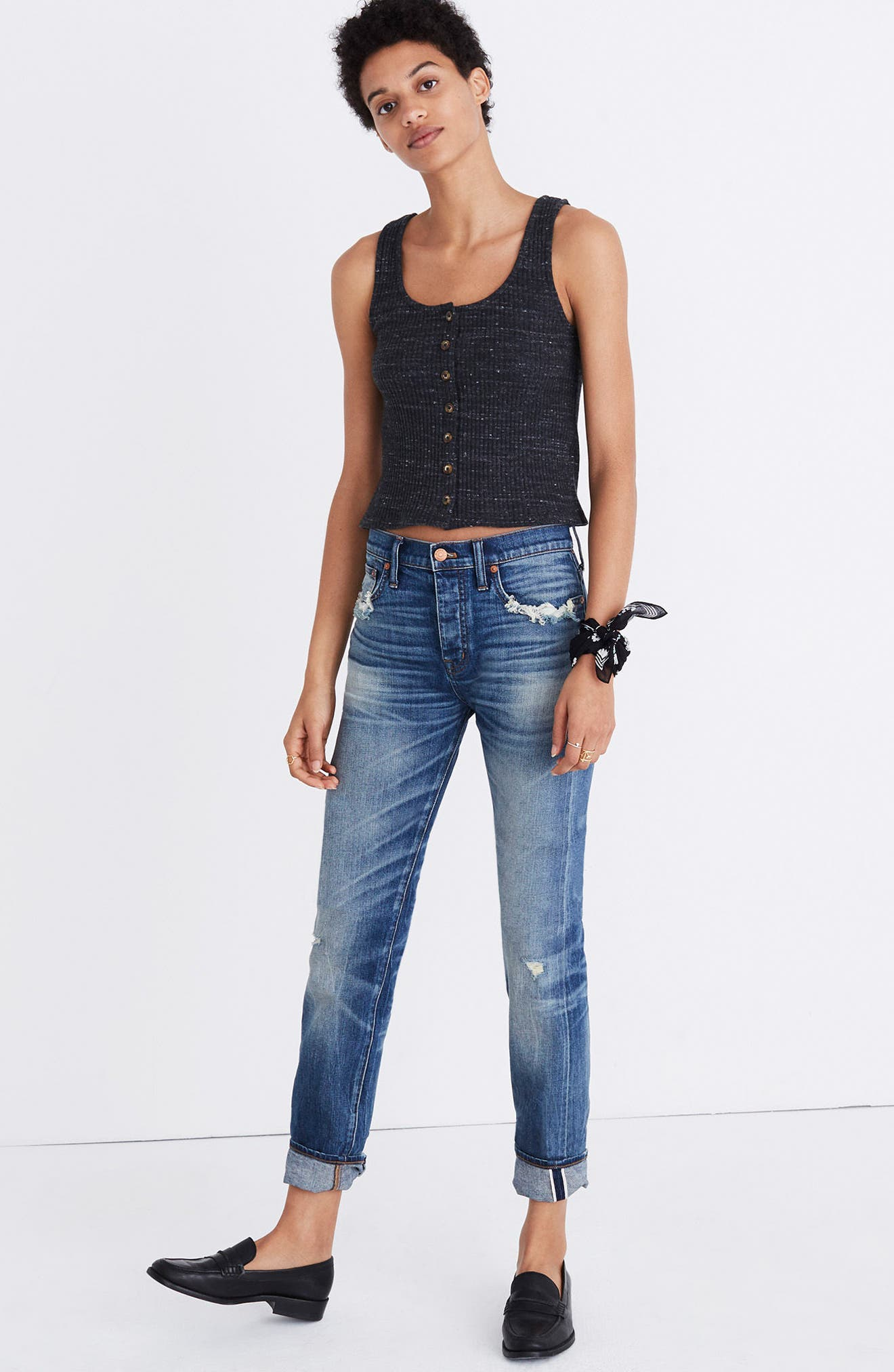 Ribbed Button Front Tank,                             Alternate thumbnail 4, color,                             020