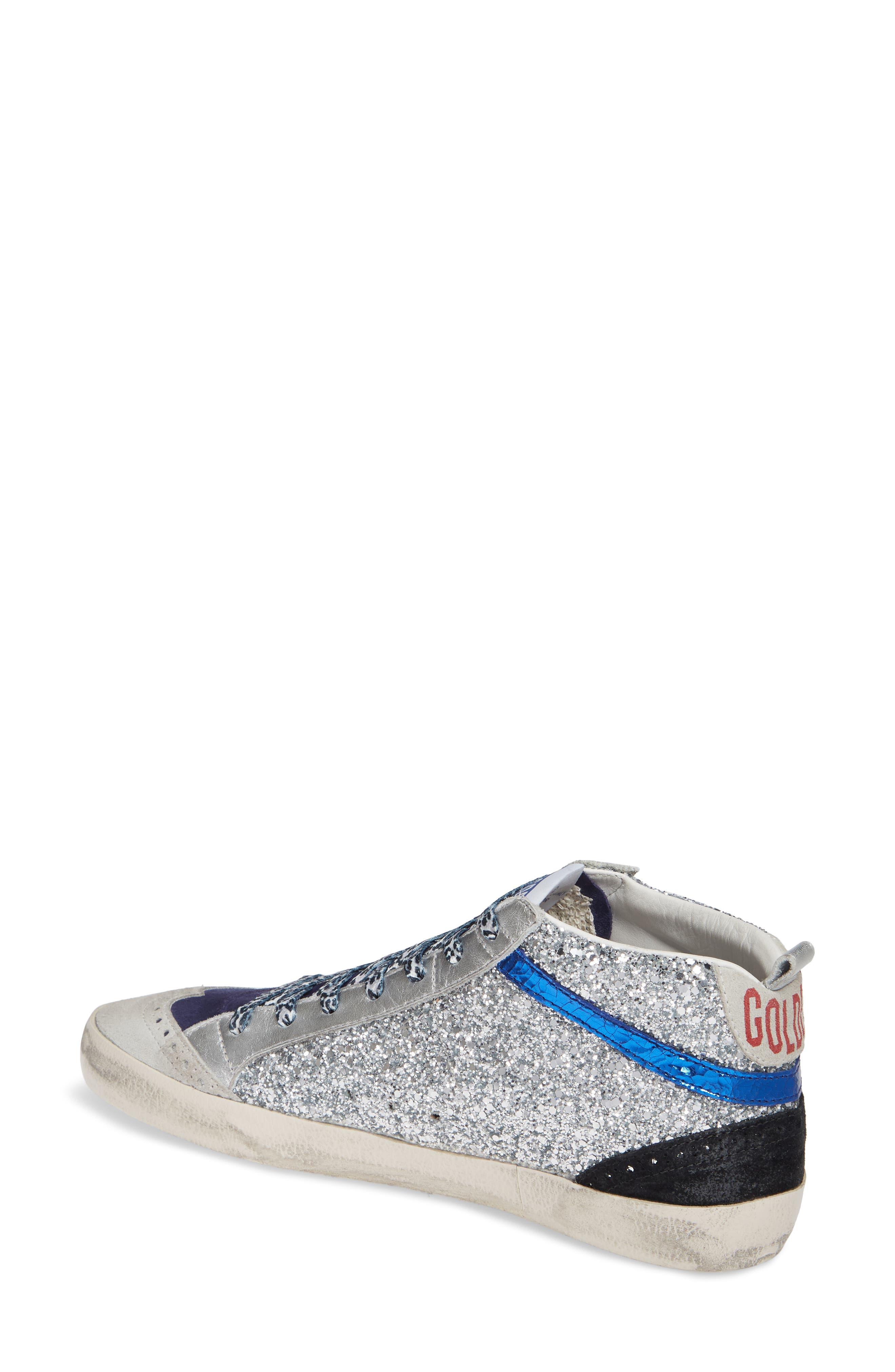 Mid Star Glitter Sneaker,                             Alternate thumbnail 2, color,                             SILVER/ WHITE