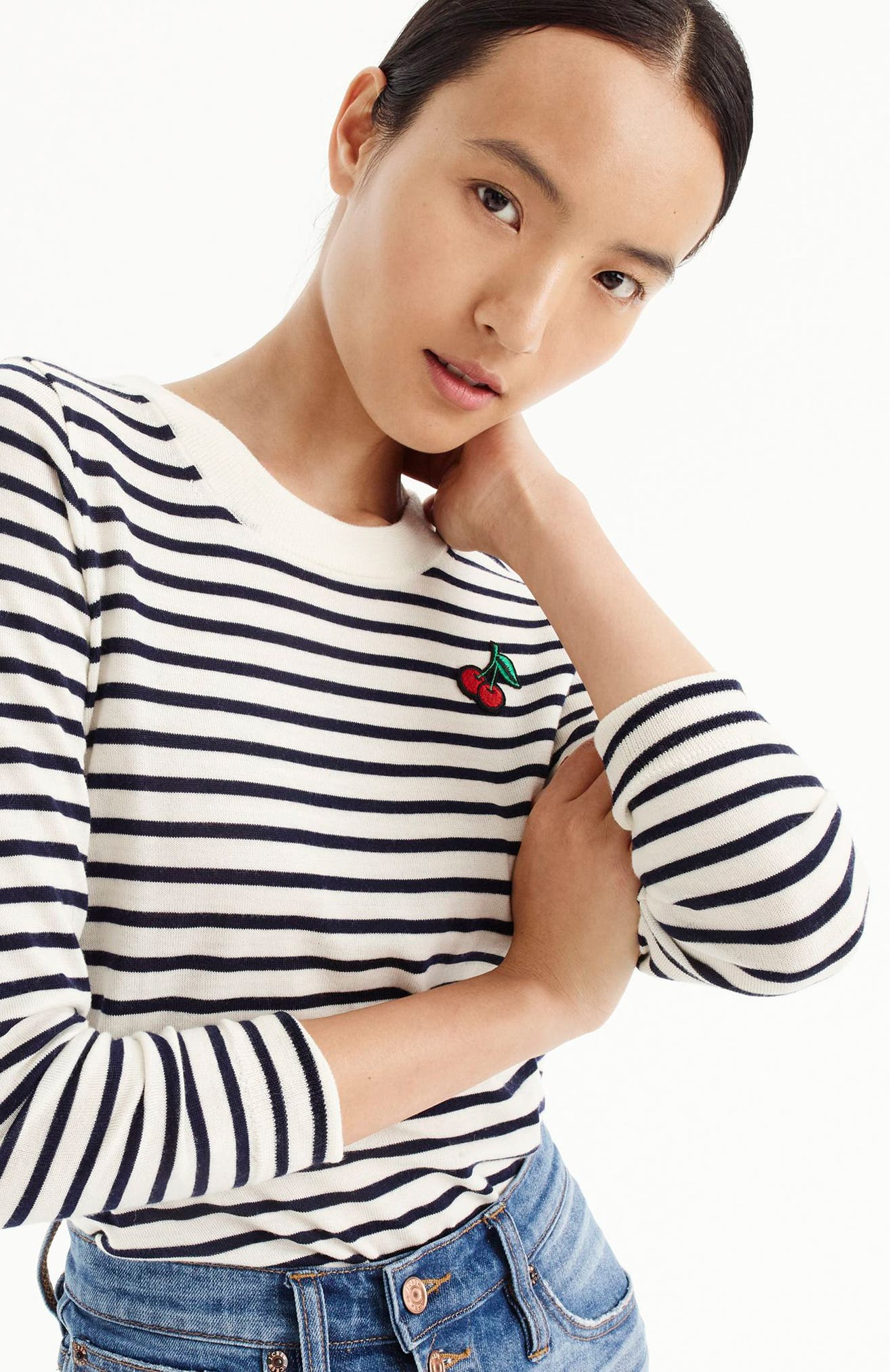 Stripe Tippi Wool Sweater with Cherry Patch,                             Alternate thumbnail 2, color,                             900
