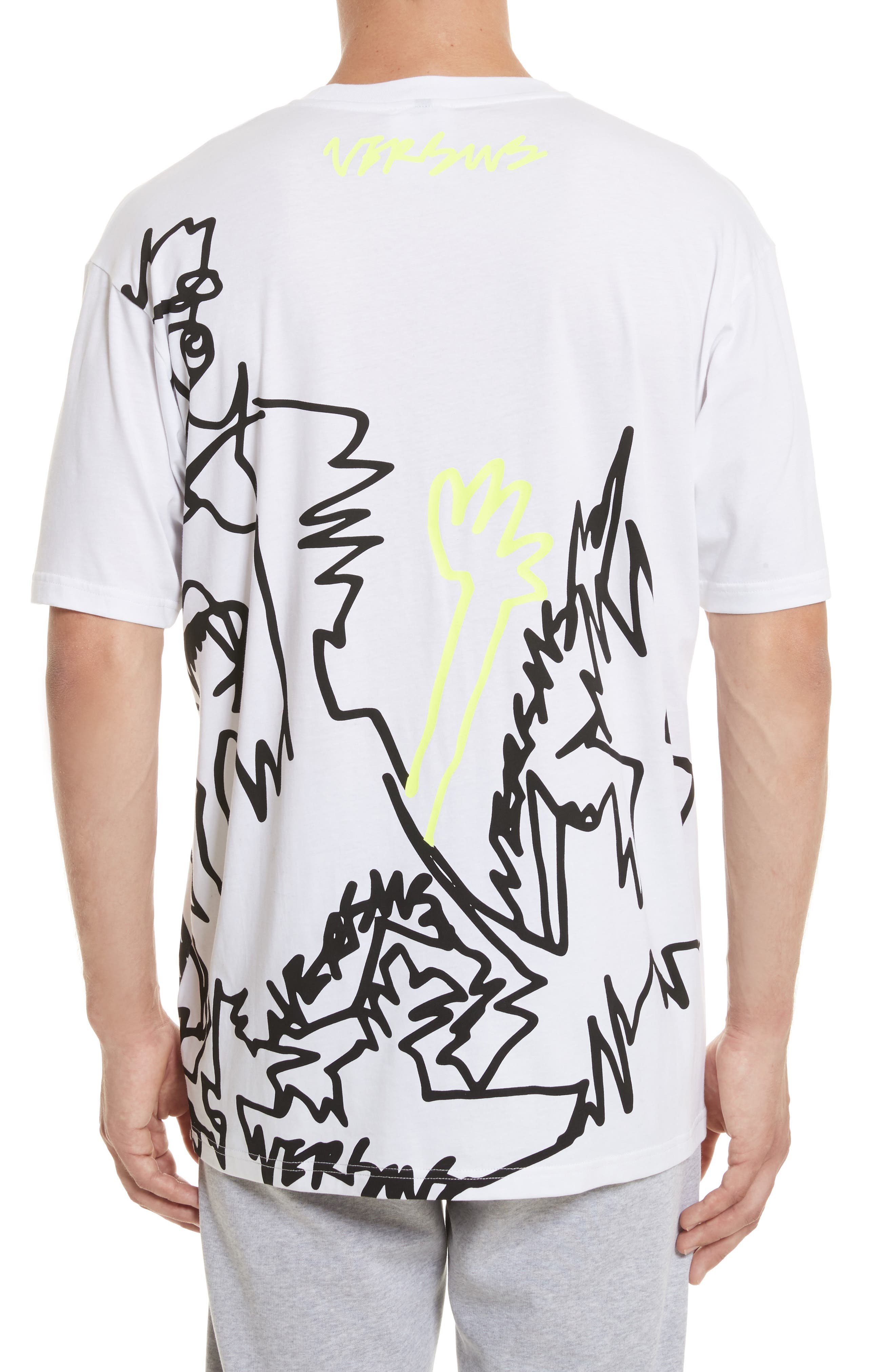 VERSUS by Versace Scribble Print T-Shirt,                             Alternate thumbnail 2, color,                             112