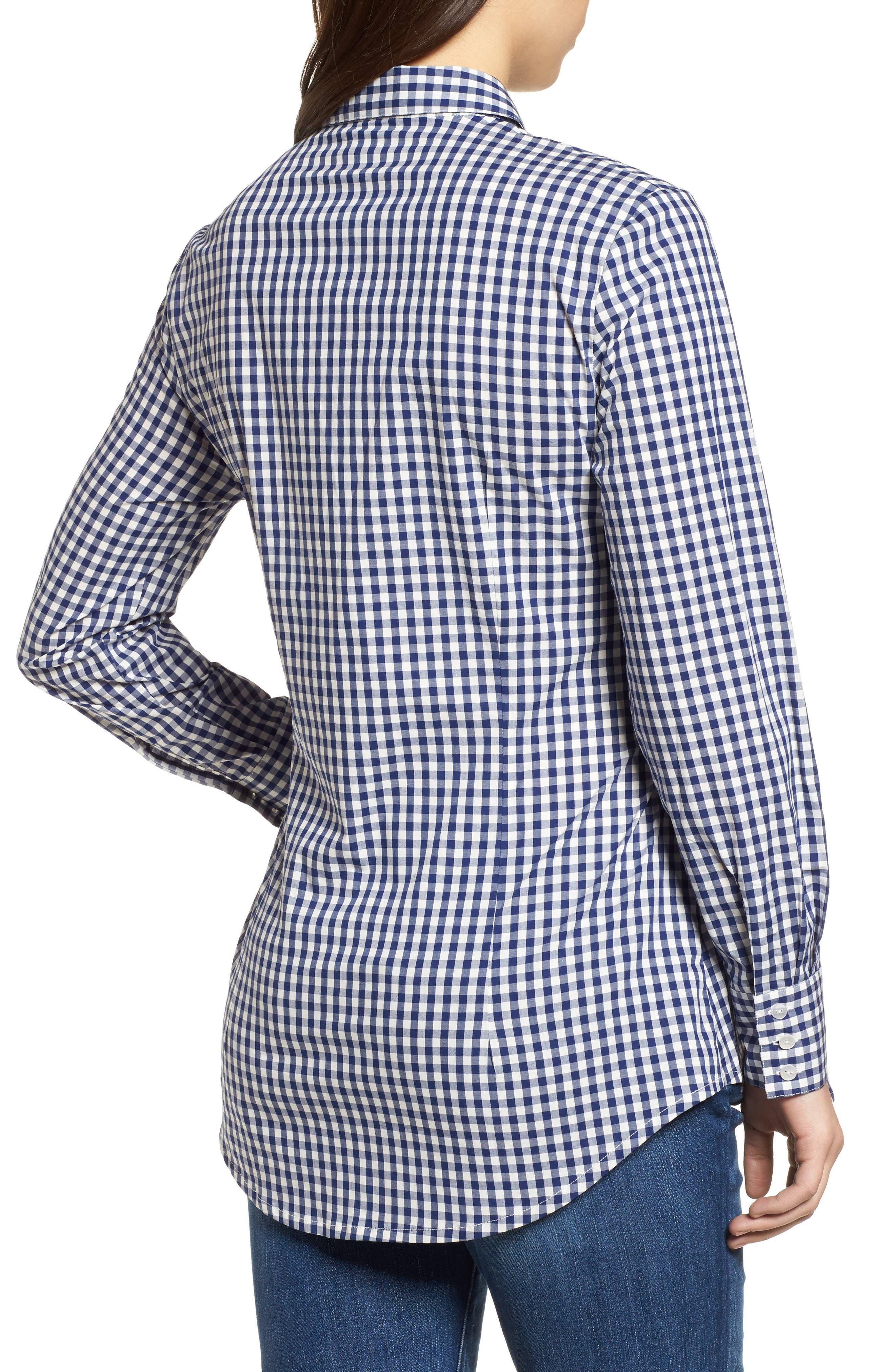 Lindsay Check Maternity Shirt,                             Alternate thumbnail 2, color,                             BLUE GINGHAM
