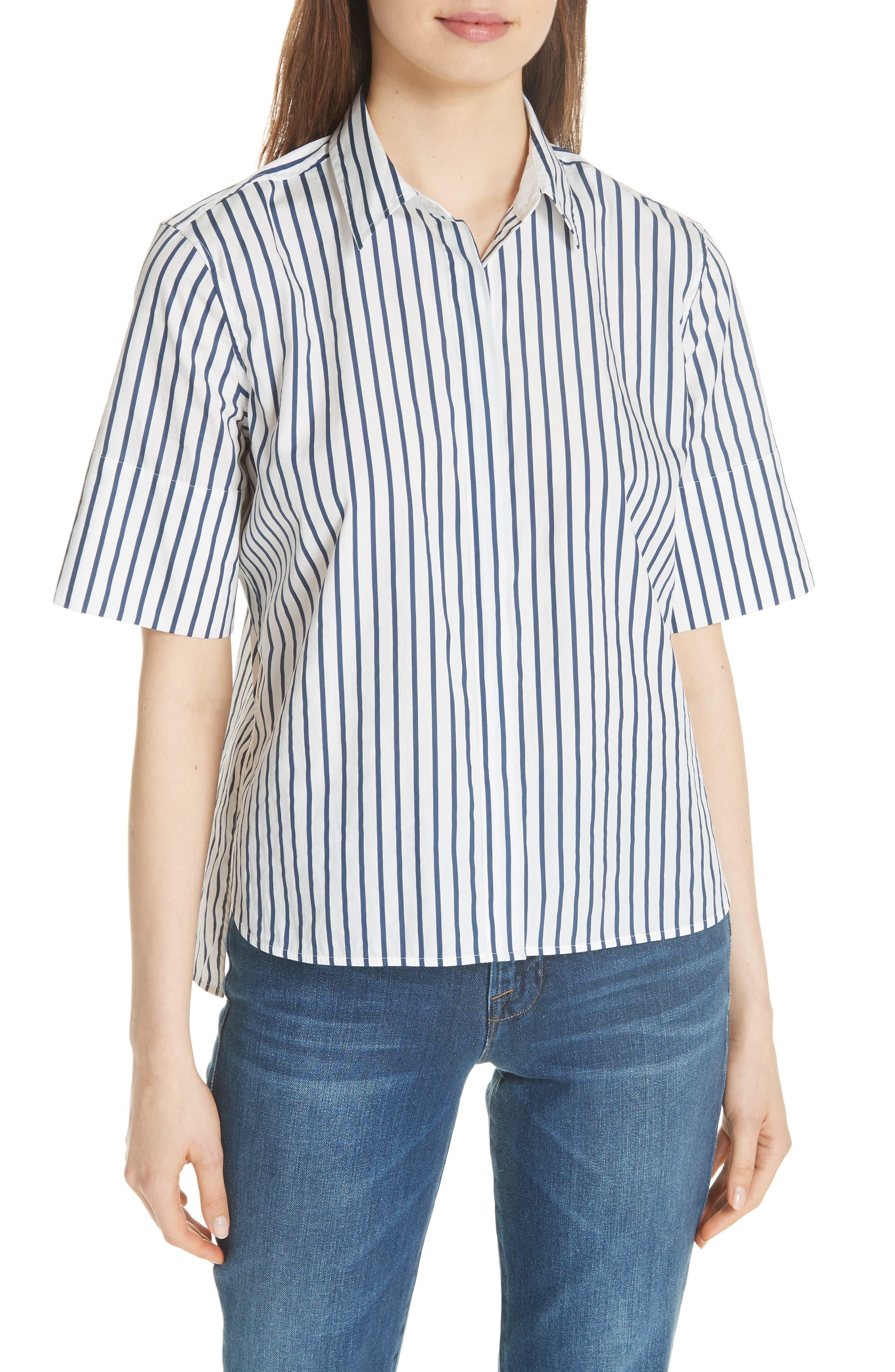 Paulette Short Sleeve Cotton Top,                         Main,                         color, ECLIPSE/ BRIGHT WHITE