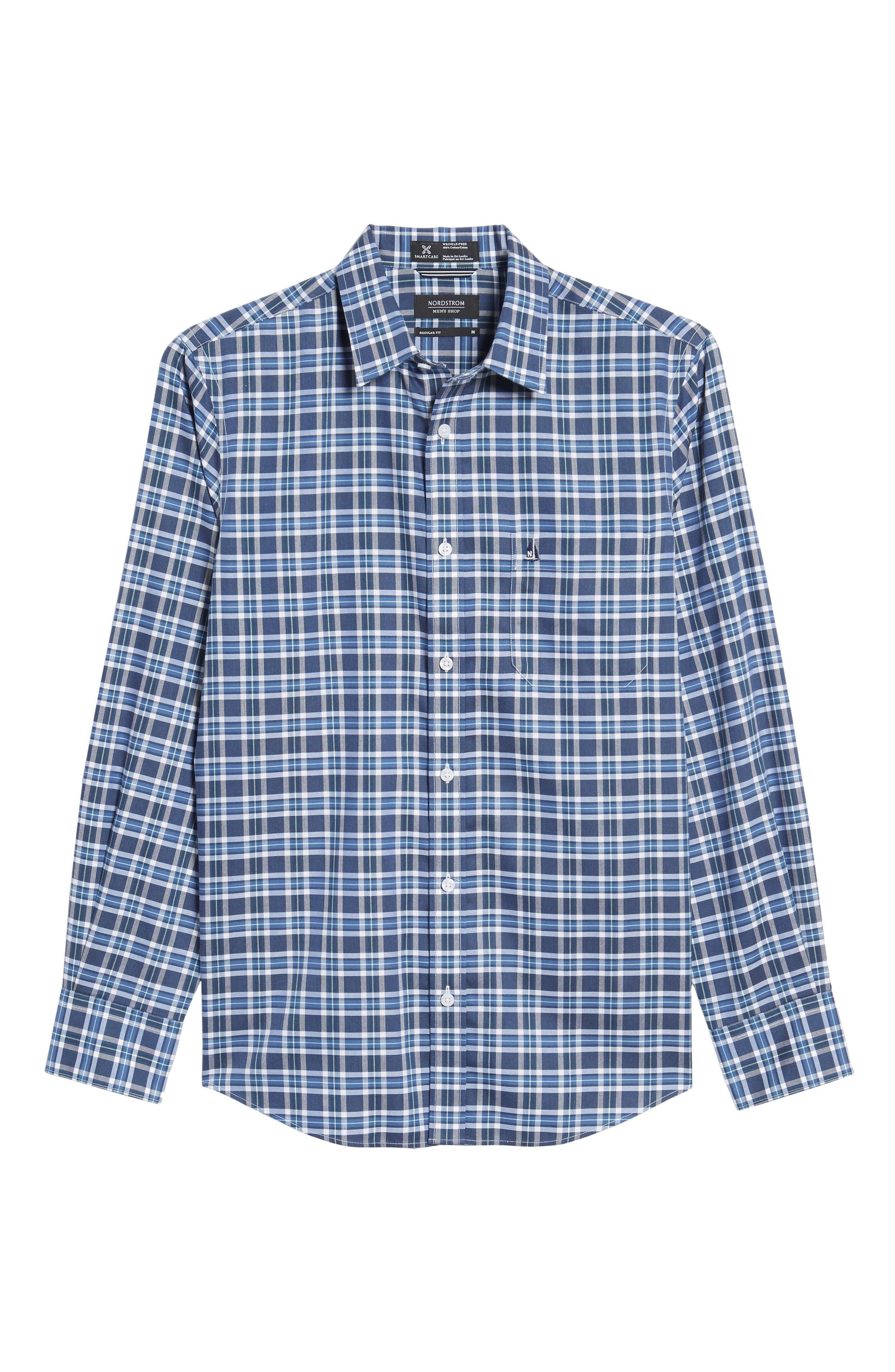 Smartcare<sup>™</sup> Regular Fit Plaid Sport Shirt,                             Alternate thumbnail 40, color,