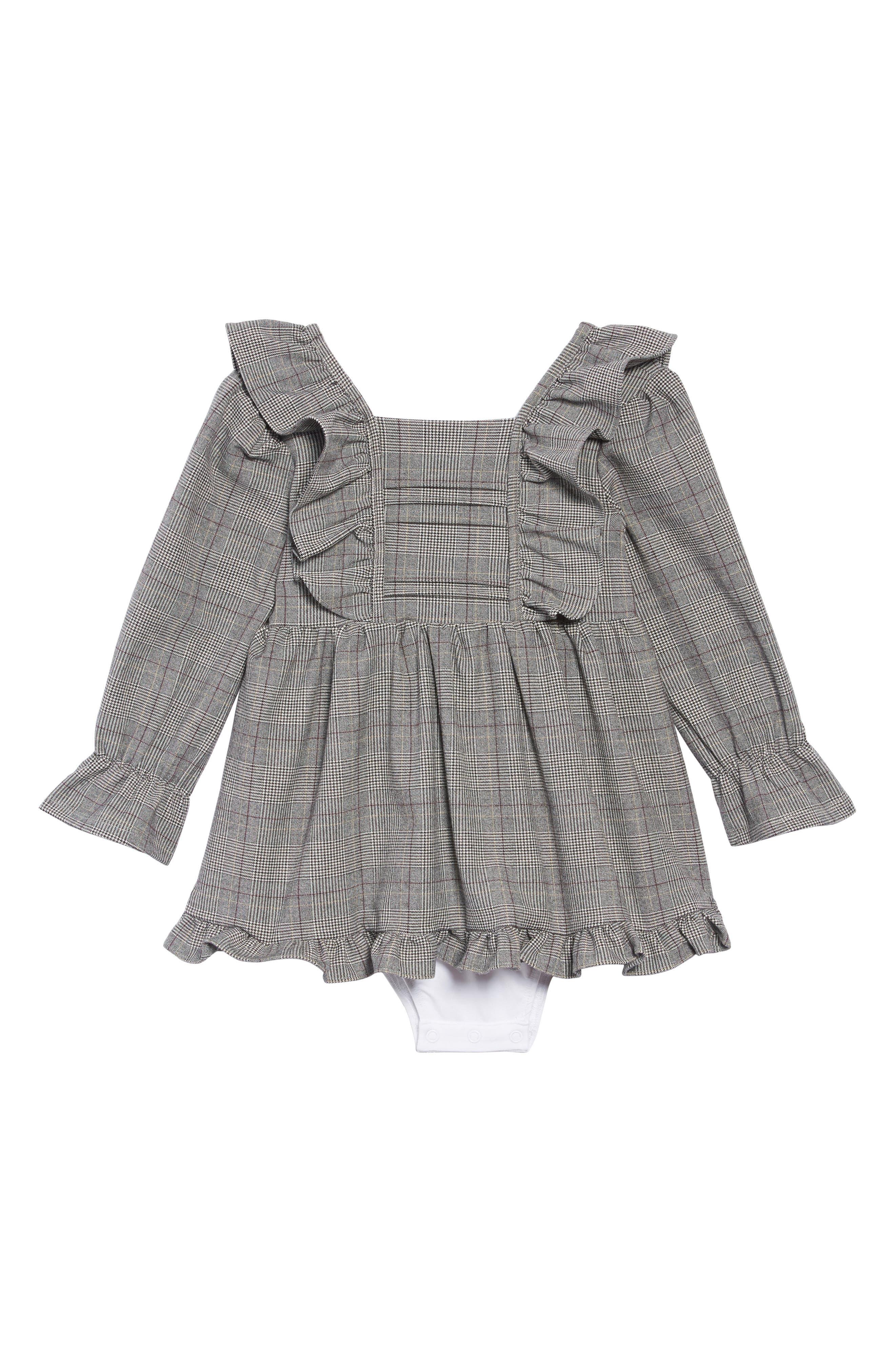 Mara Grow Plaid Dress,                         Main,                         color, BLACK CHECK