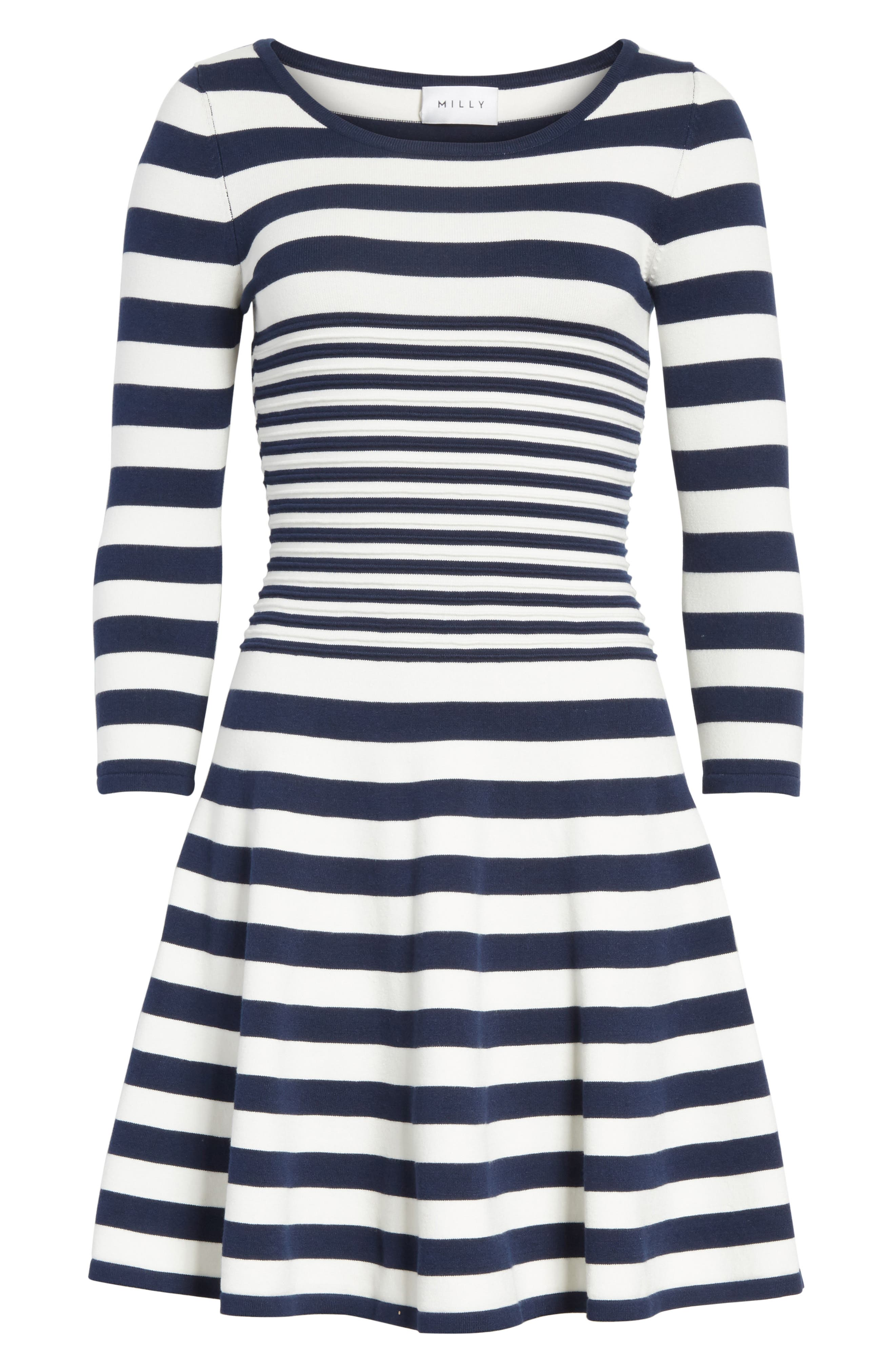 Striped Ottoman Fit & Flare Dress,                             Alternate thumbnail 6, color,                             155