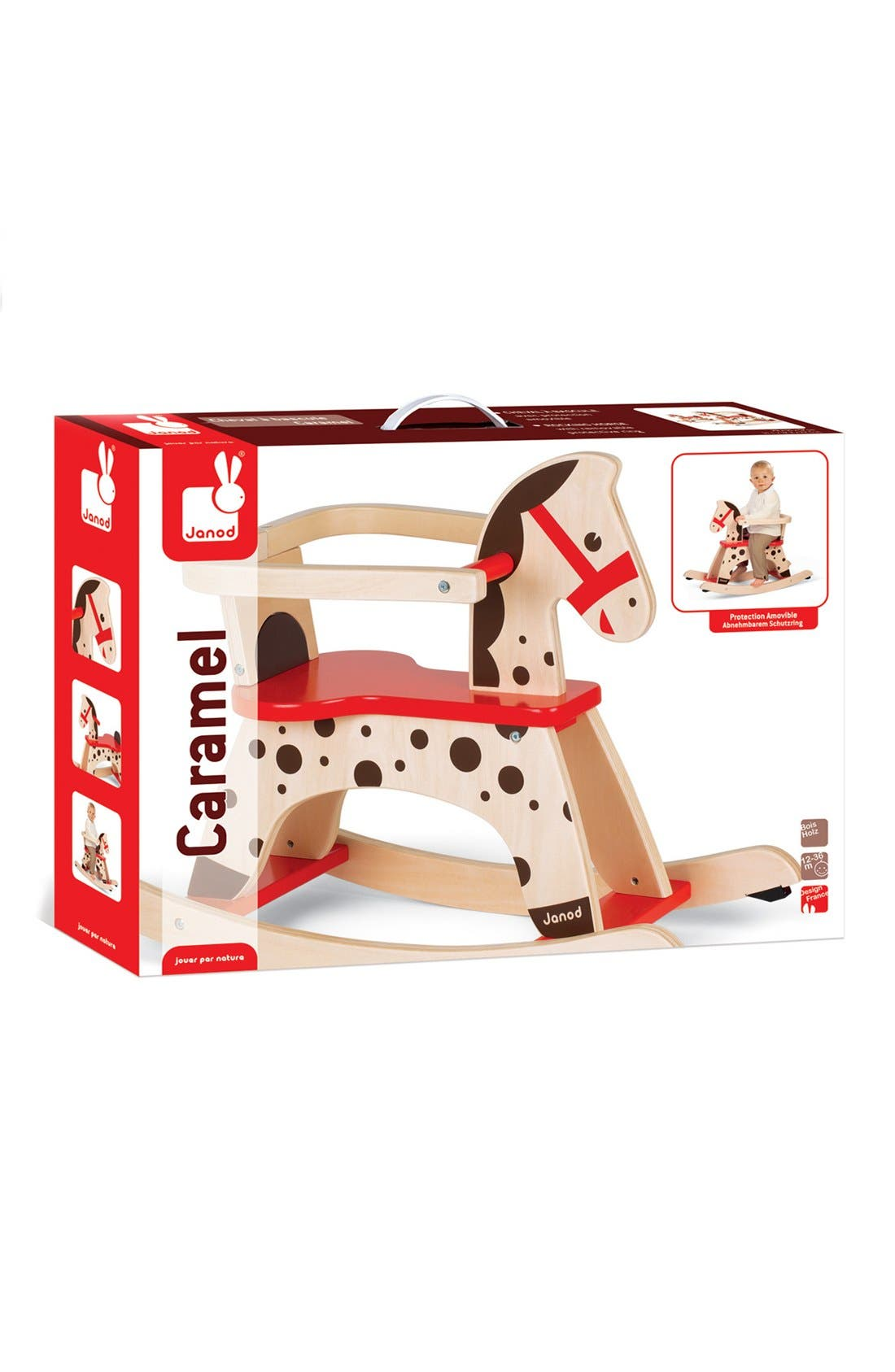 'Caramel' Wood Rocking Horse,                             Alternate thumbnail 4, color,                             RED