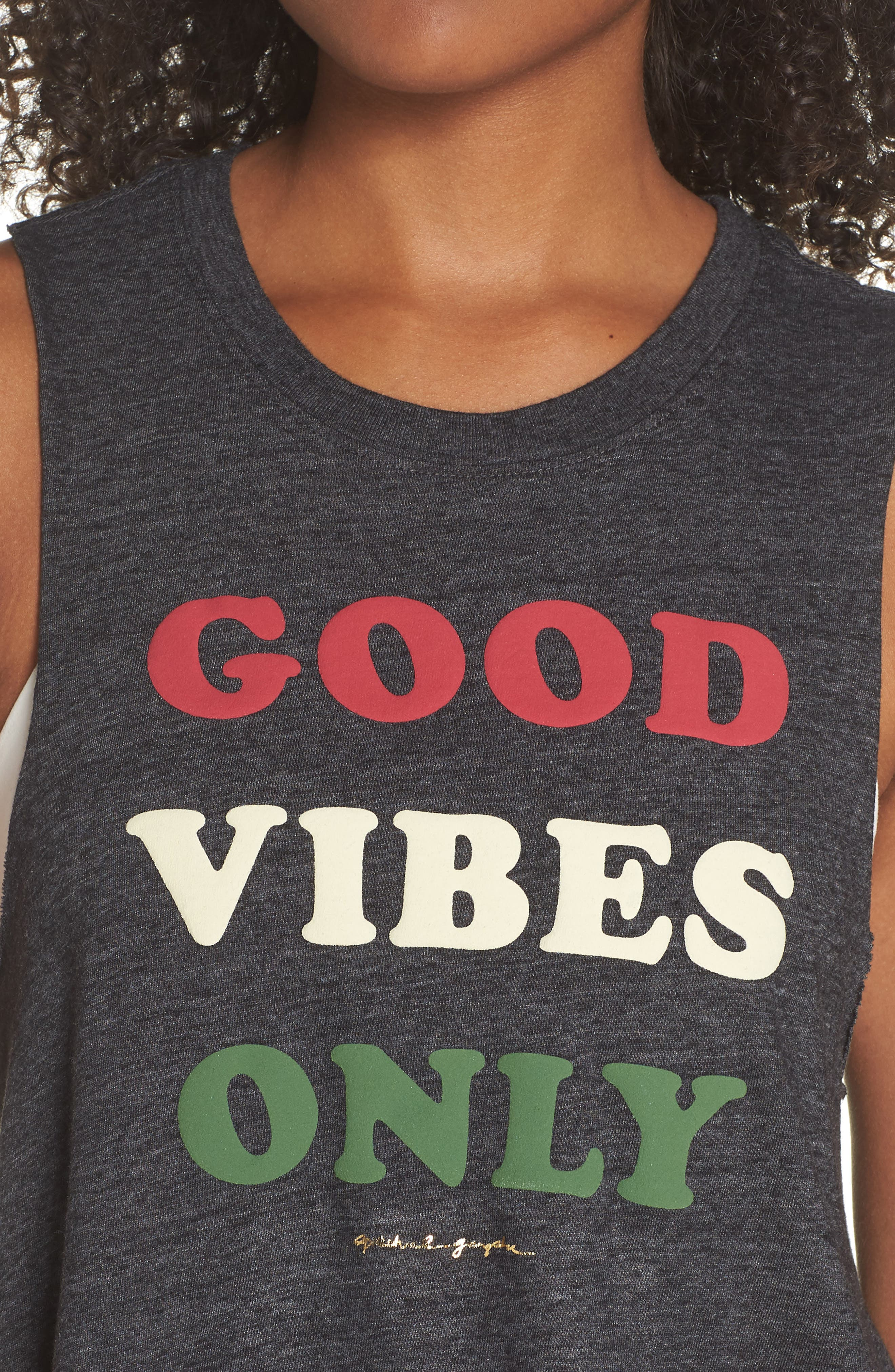 Good Vibes Only Crop Tank,                             Alternate thumbnail 4, color,                             007