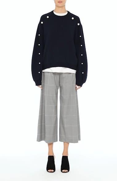 Imitation Pearl Sleeve Merino Wool Sweater, video thumbnail