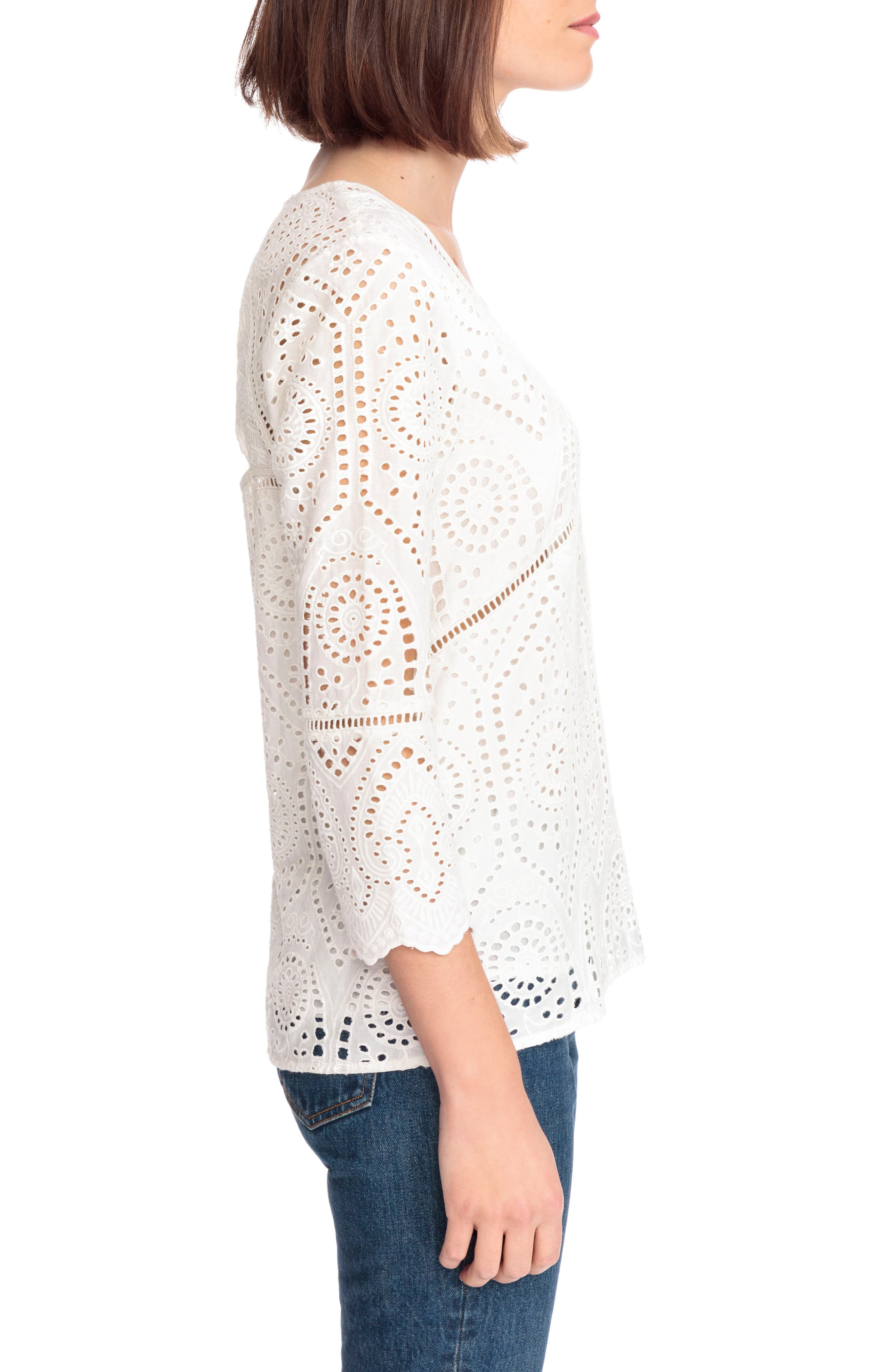 Andrea Cutwork Blouse,                             Alternate thumbnail 3, color,                             100