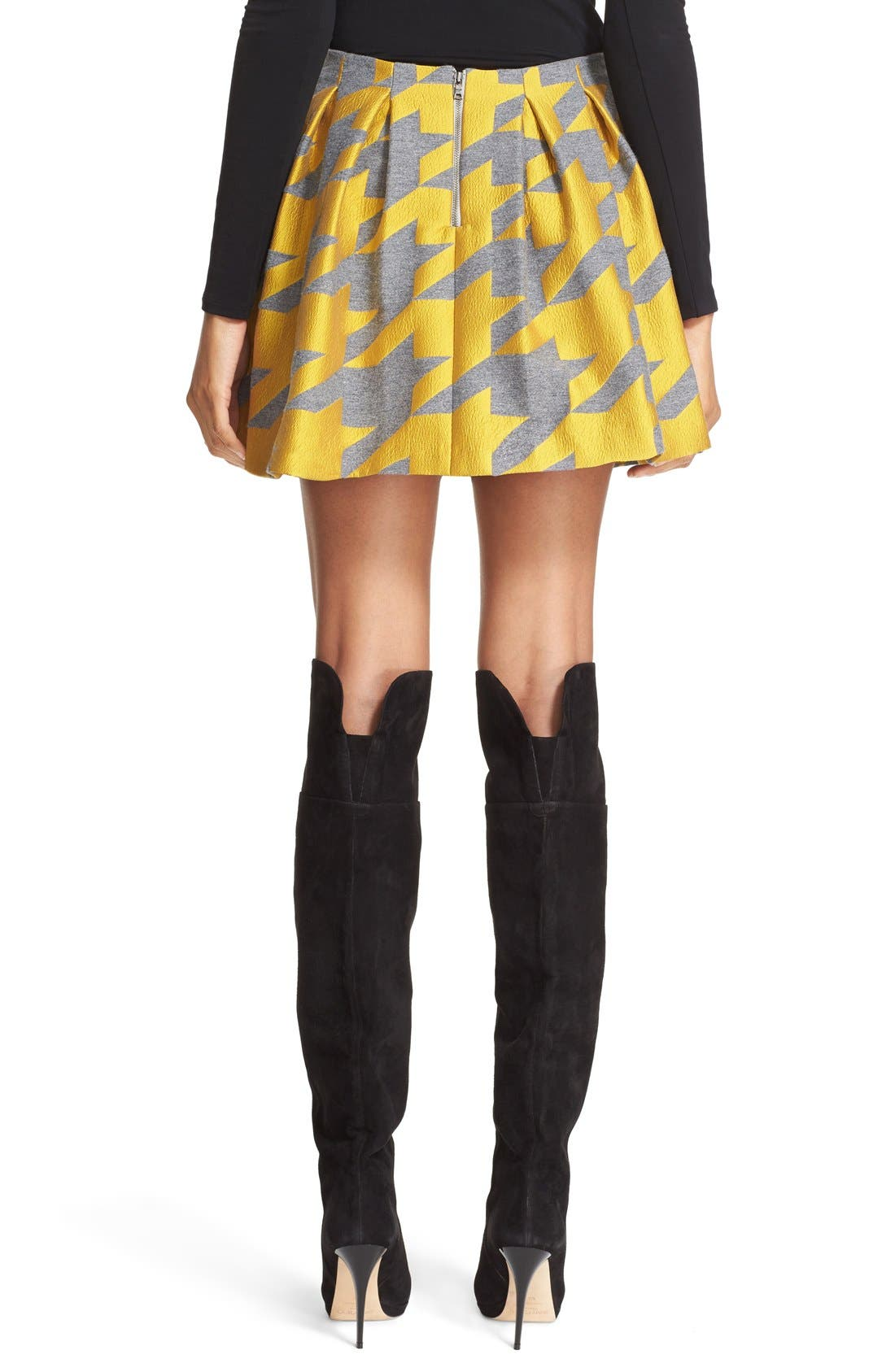 ALICE + OLIVIA,                             'Connor' Oversize Houndstooth Lampshade Skirt,                             Alternate thumbnail 5, color,                             700