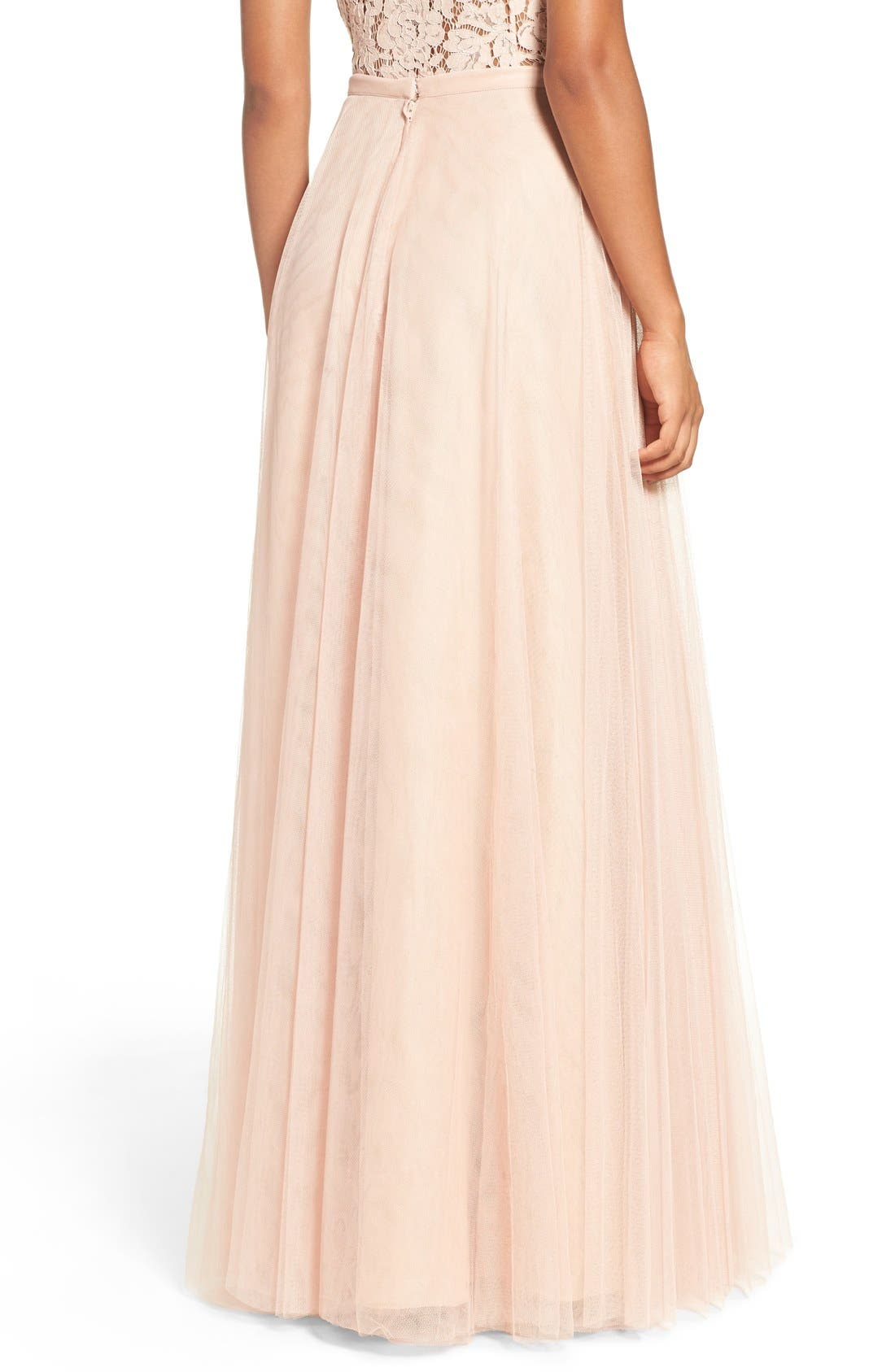 Winslow Long Tulle A-Line Skirt,                             Alternate thumbnail 8, color,                             CAMEO PINK