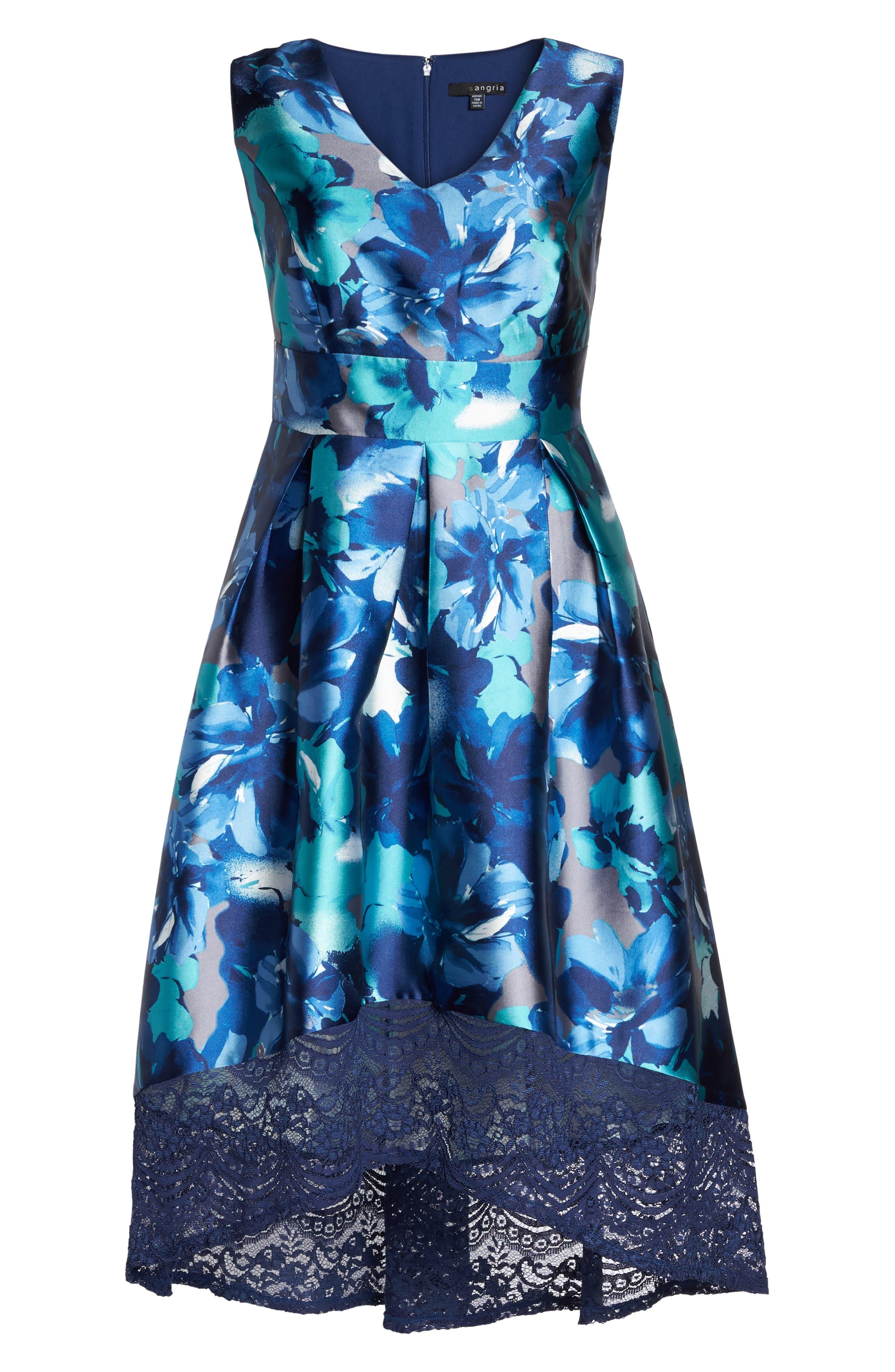 Watercolor Floral High/Low Dress,                             Alternate thumbnail 6, color,                             460