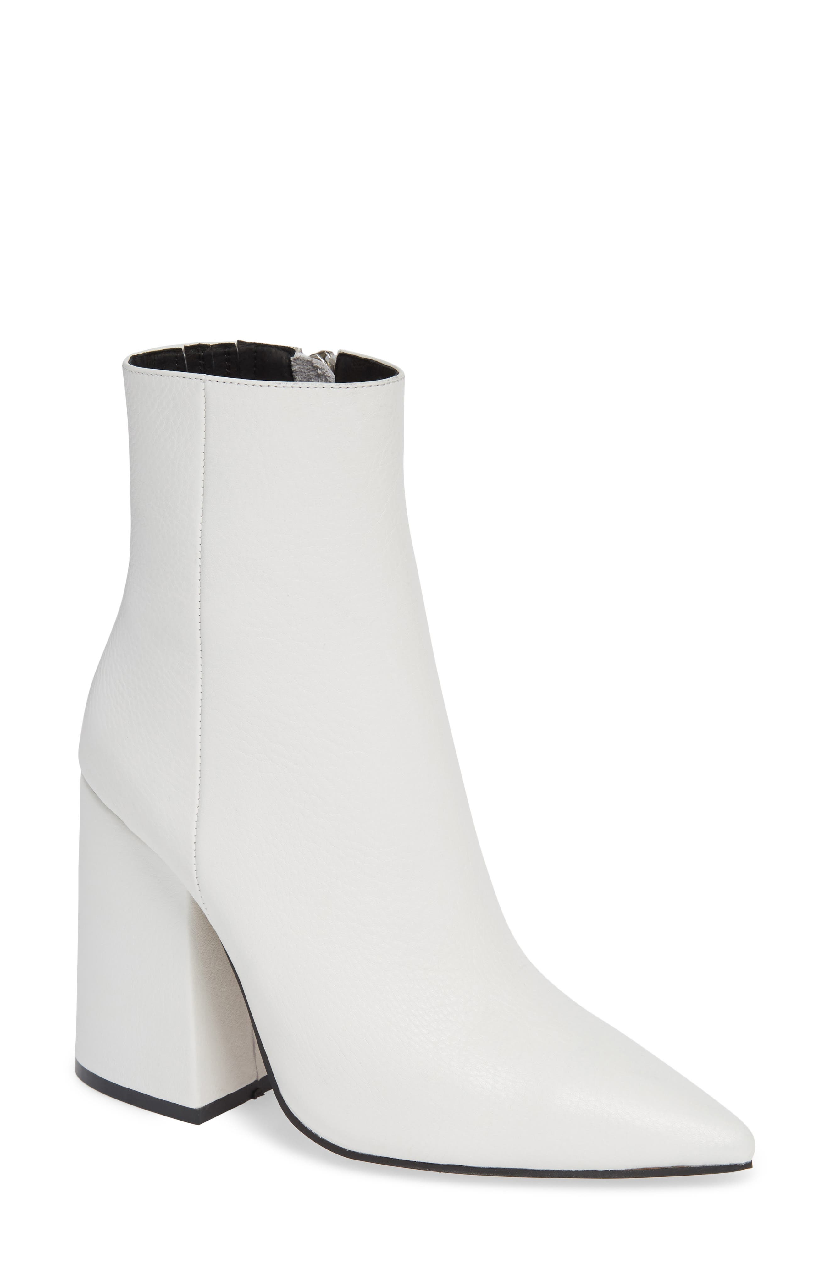 Ahara Bootie,                             Main thumbnail 1, color,                             WHITE LEATHER