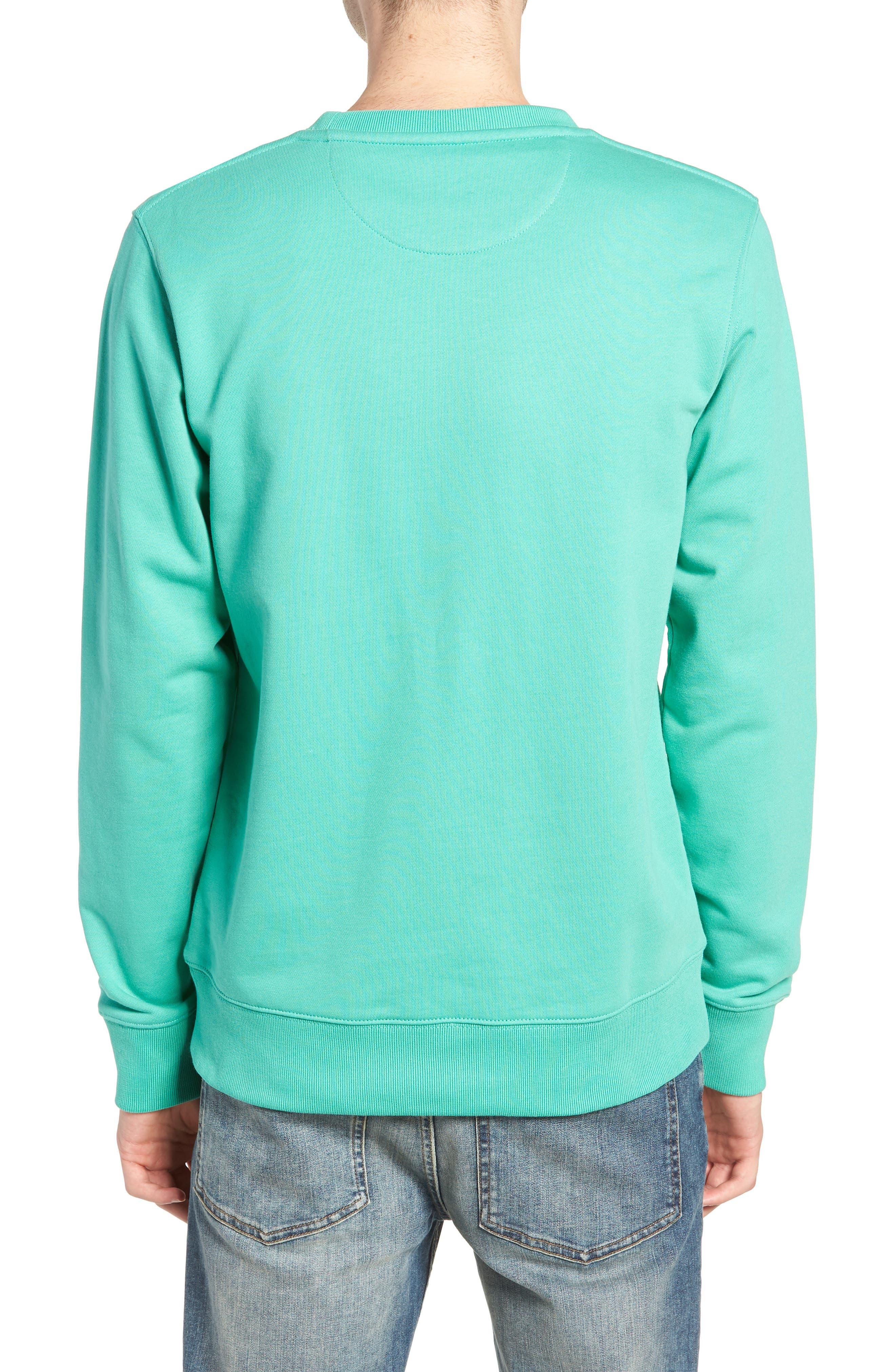 Bowery Embroidered Fleece Sweatshirt,                             Alternate thumbnail 2, color,                             SEAFOAM GREEN