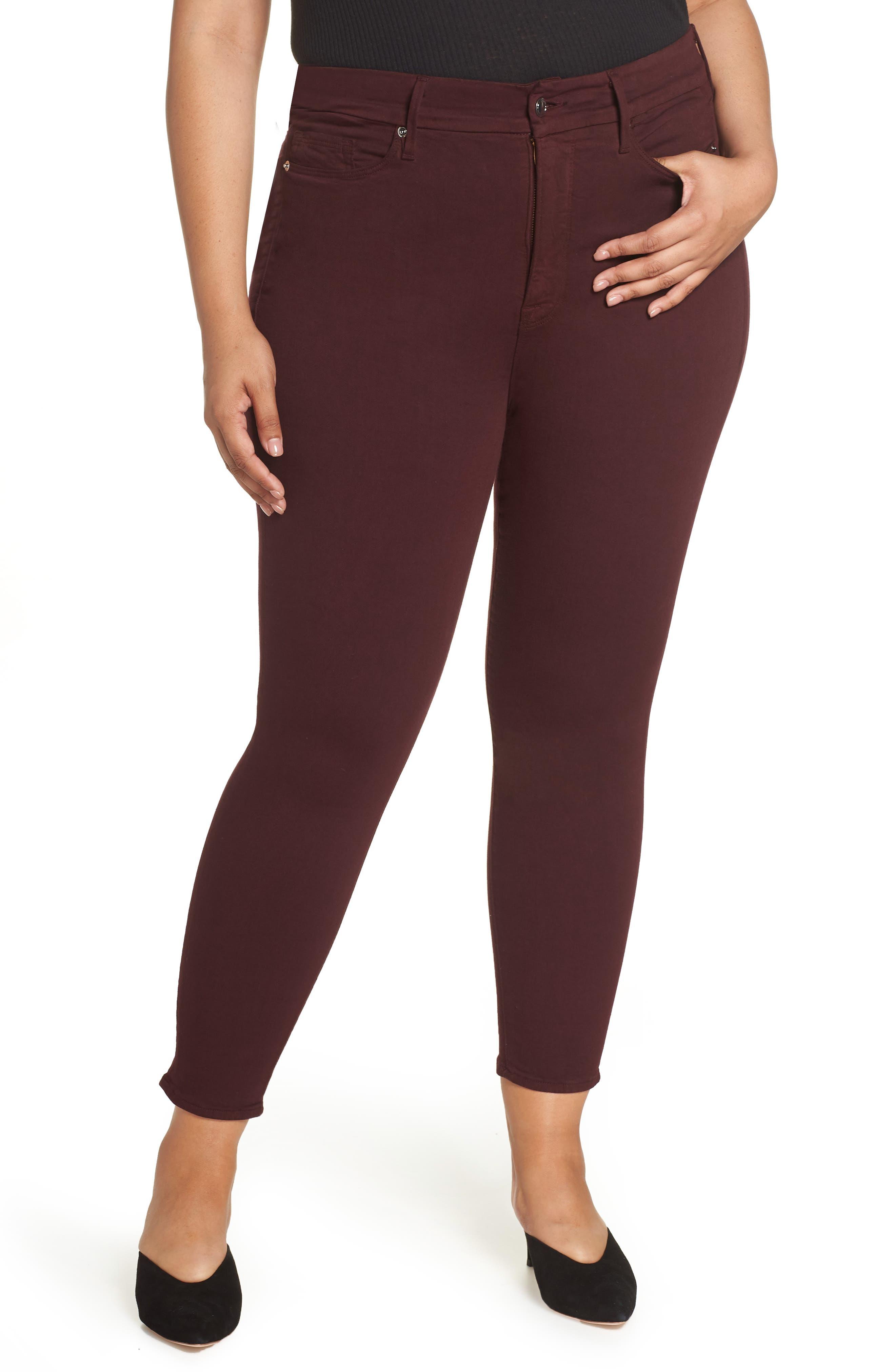 Good Legs High Waist Ankle Skinny Jeans,                             Alternate thumbnail 2, color,                             BURGUNDY 001