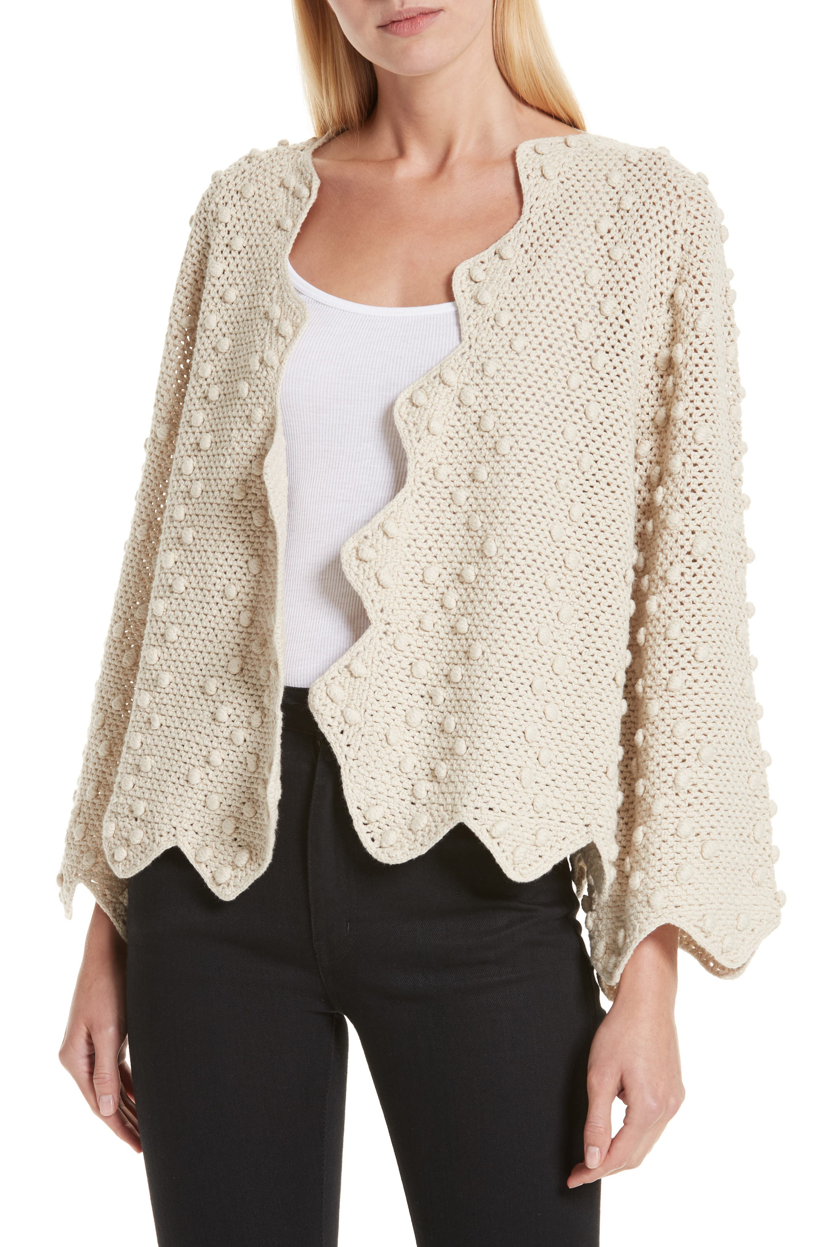 THE GREAT. The Zig Zag Bobble Cardigan, Main, color, 250