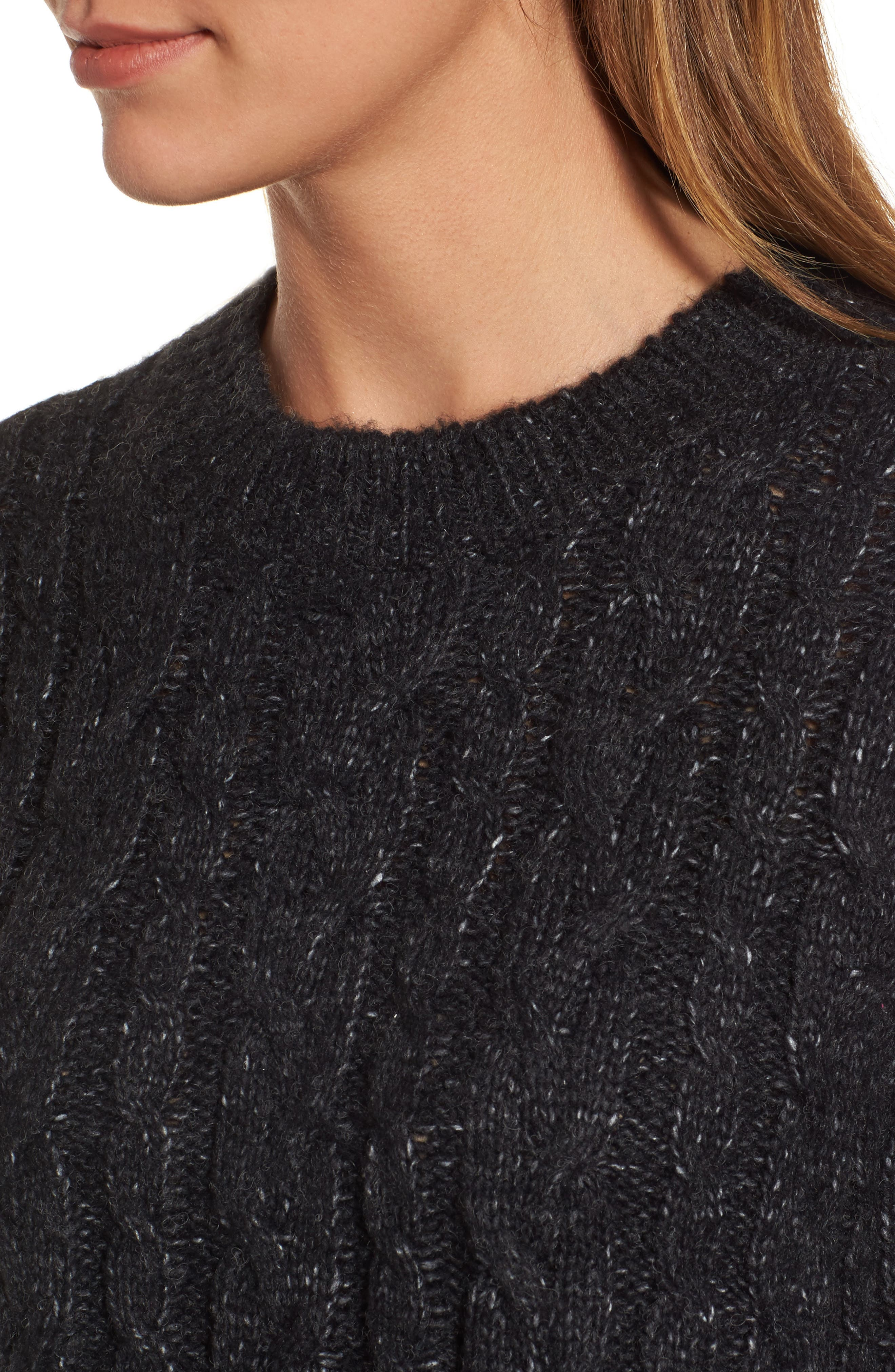 Trapeze Fit Cable Knit Sweater,                             Alternate thumbnail 4, color,                             001