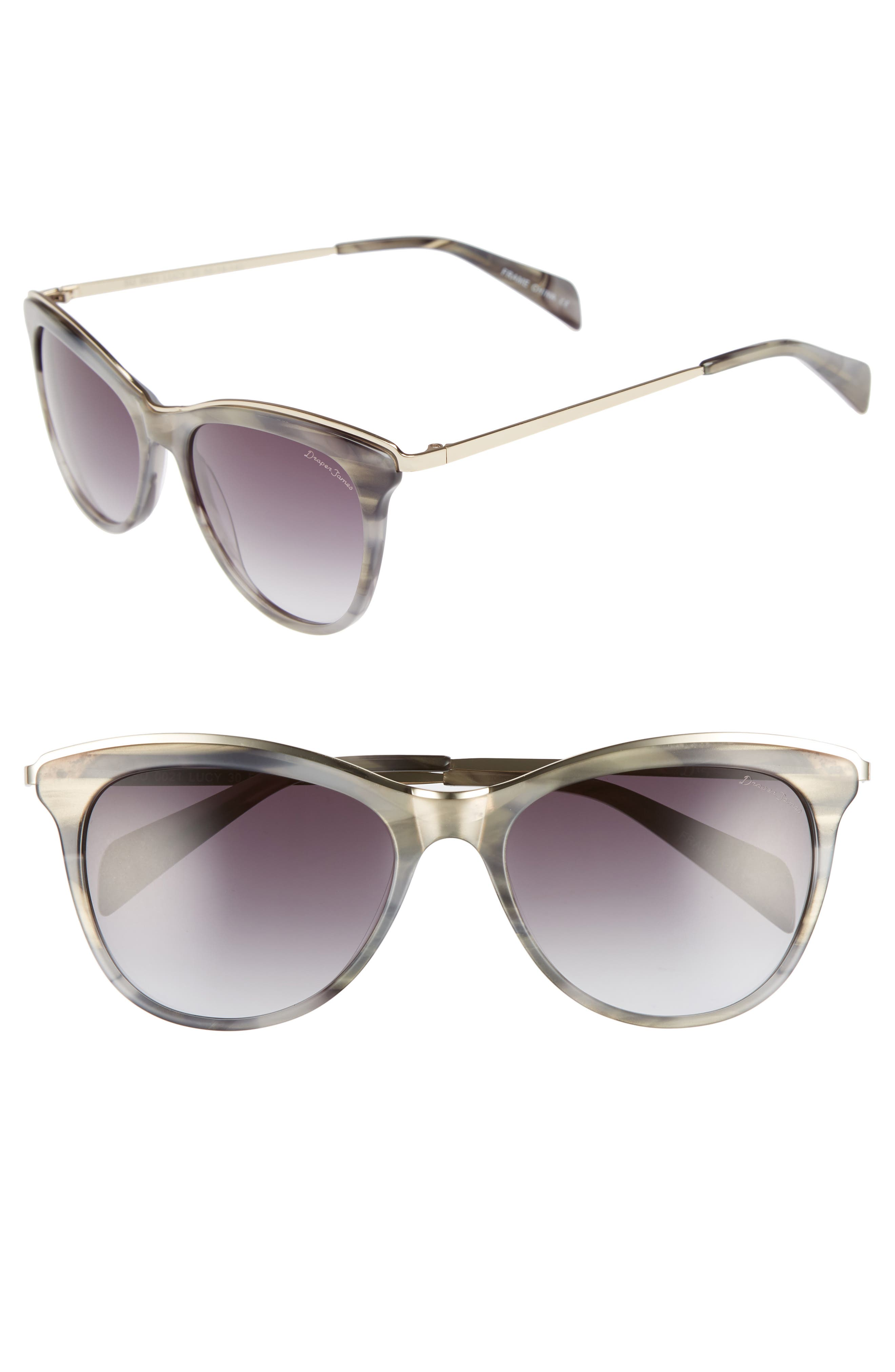 56mm Cat Eye Sunglasses,                             Main thumbnail 1, color,                             GREY