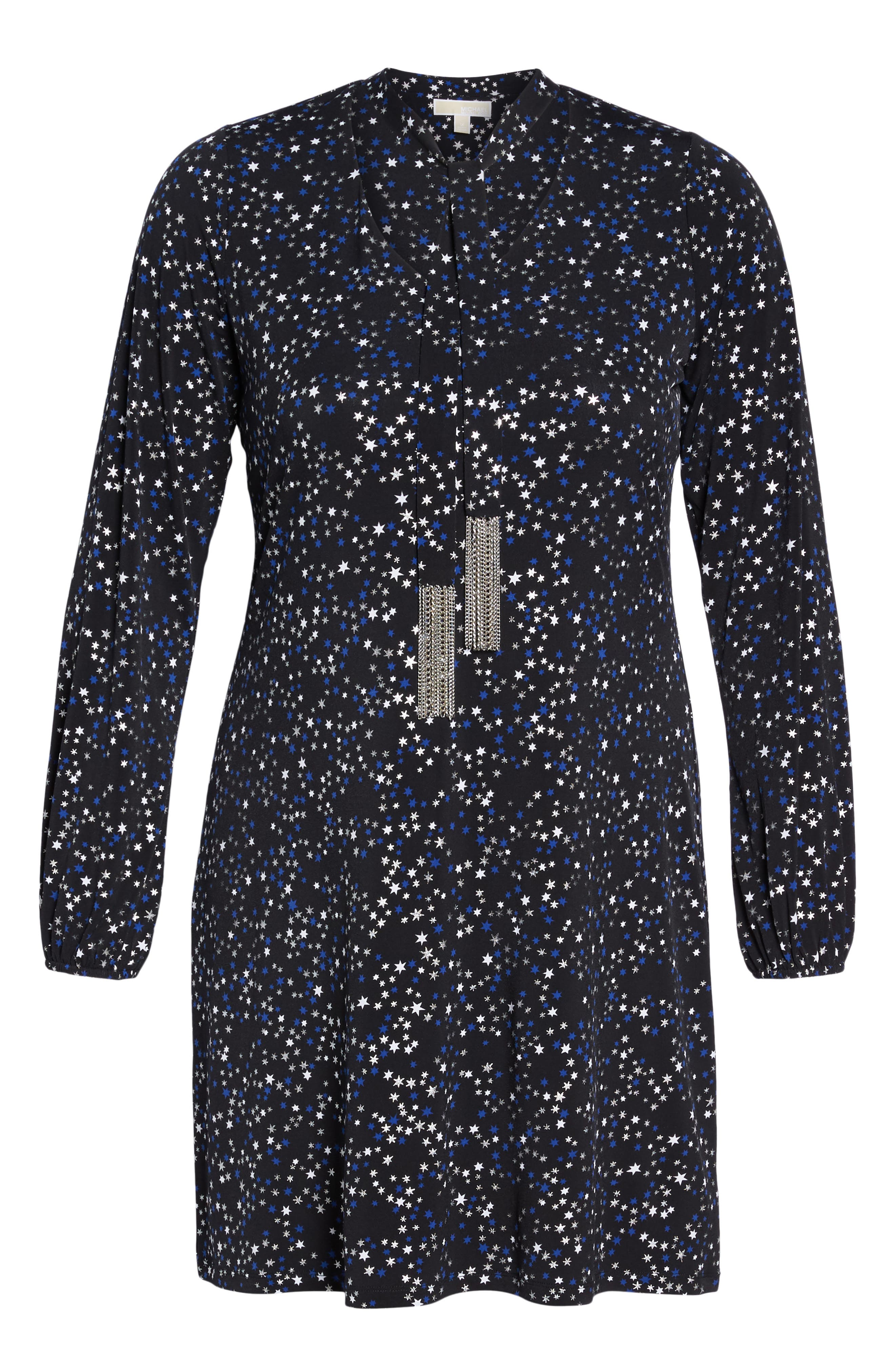 Foil Star A-Line Dress,                             Alternate thumbnail 6, color,